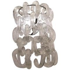 Giusto Toso Sconces Murano Glass Metal Crome, 1960, Italy