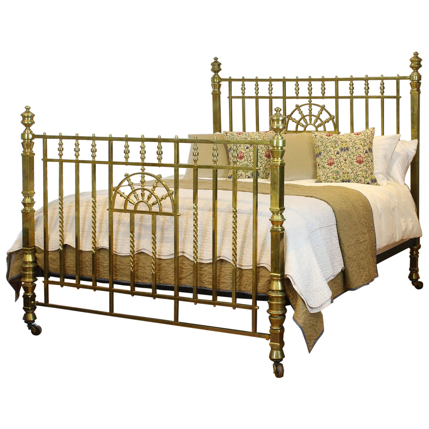Wide Victorian Brass Antique Bed MSK66