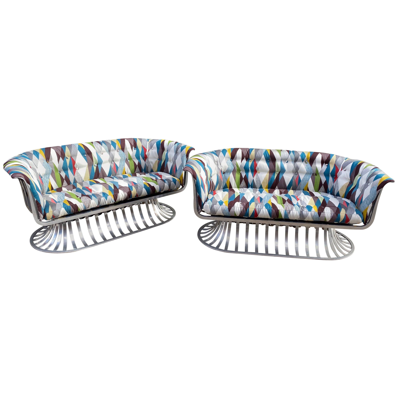Pair of Russell Woodard Aluminum Loveseats
