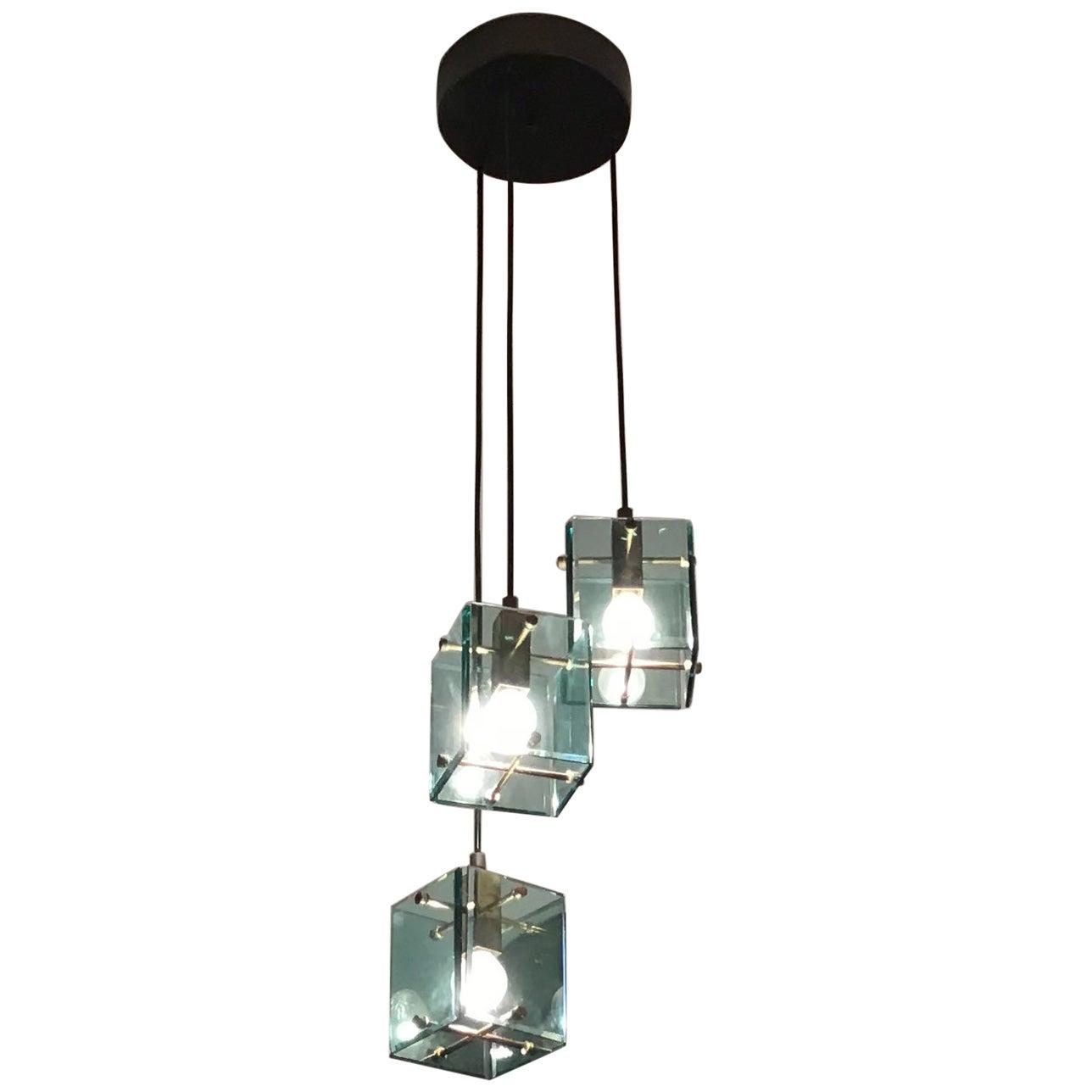 Cristal Arte Chandelier Glass Brass Metal, 1950, Italy