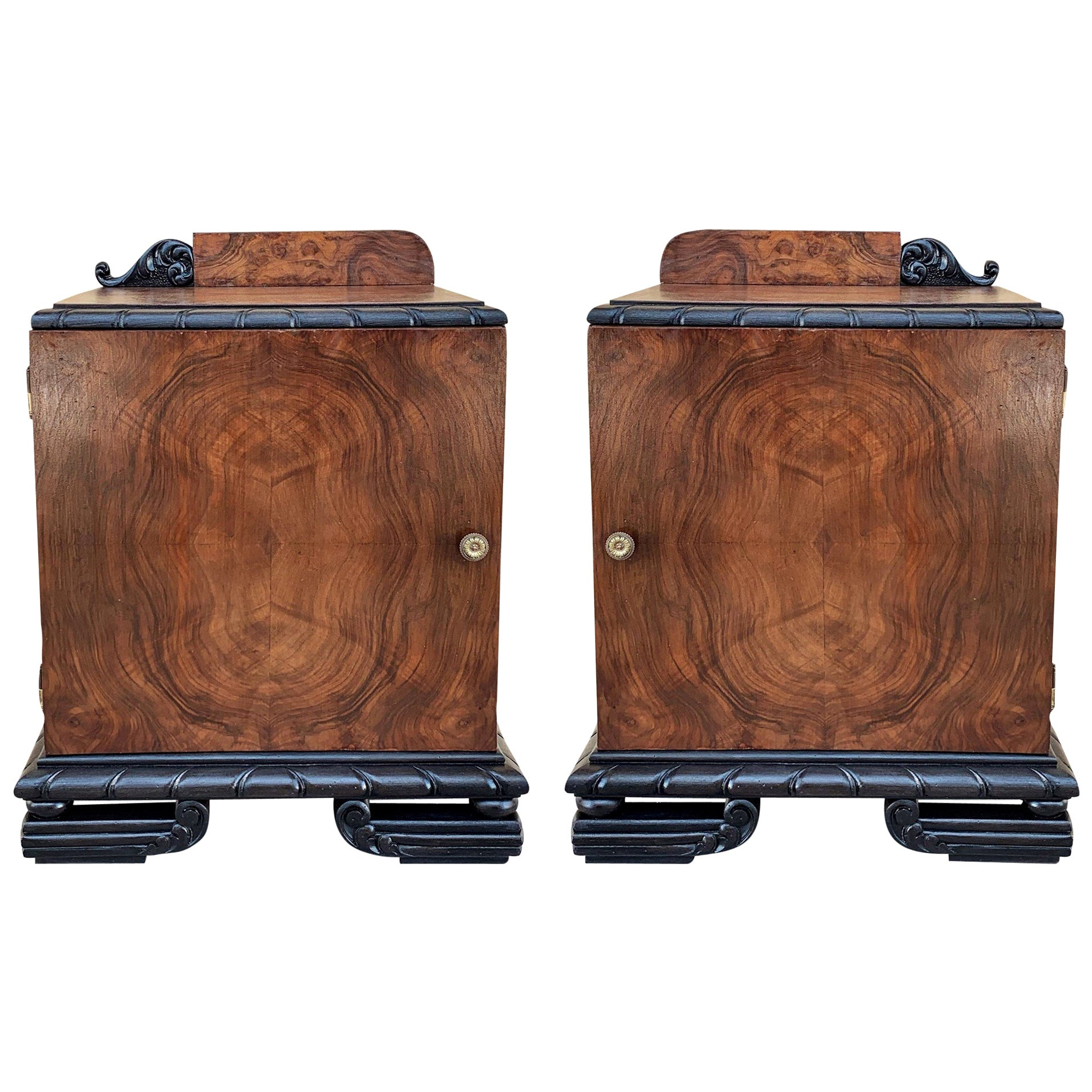 Pair of Art Deco Side Cabinets or Nightstands with Ebonized Base