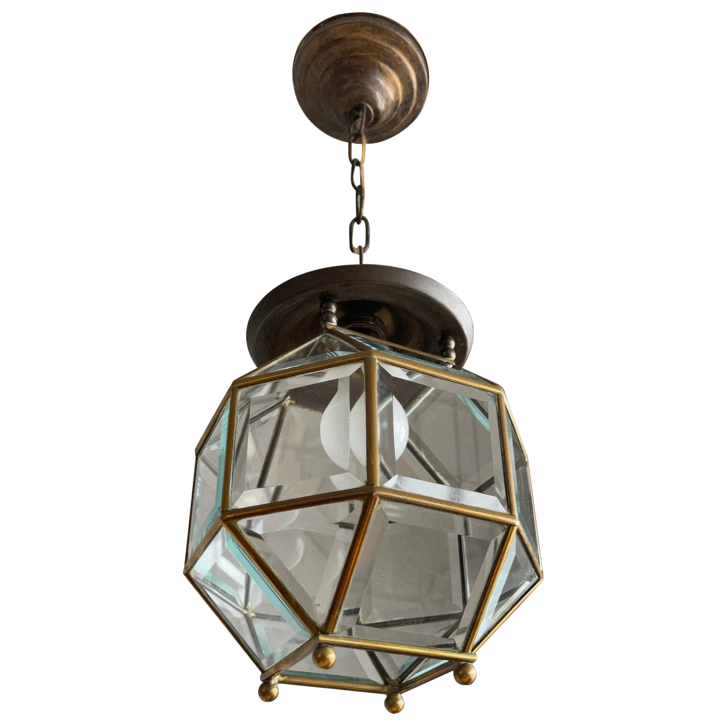 Early 1900s Beveled Glass and Brass Pendant Cubic Adolf Loos Style Ceiling Light