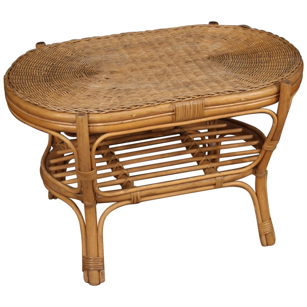 Italian Wicker Coffee Table, 20th Century