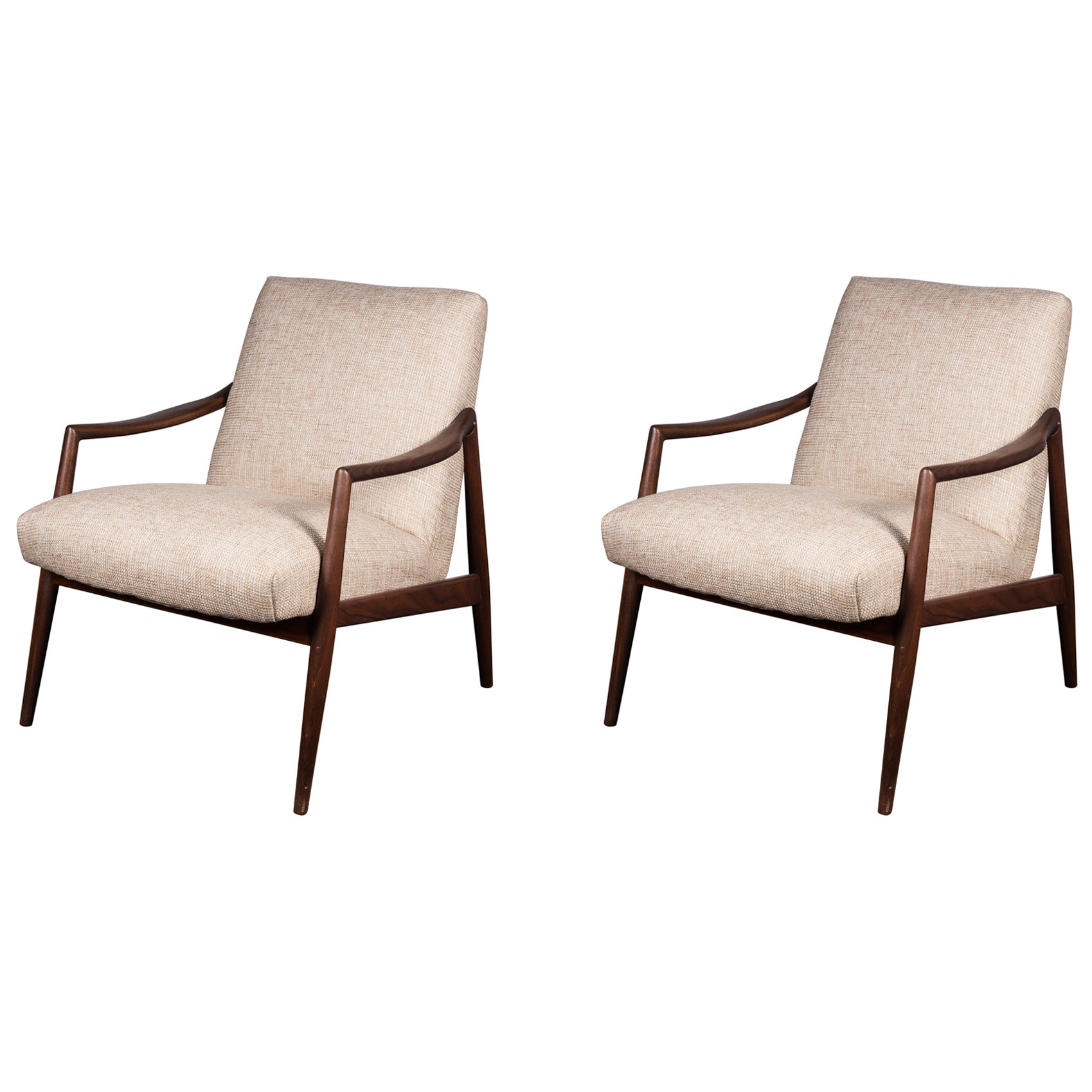 Pair of 1950s Teak Armchairs by Hartmut Lohmeyer Upholstered à la Coco Chanel