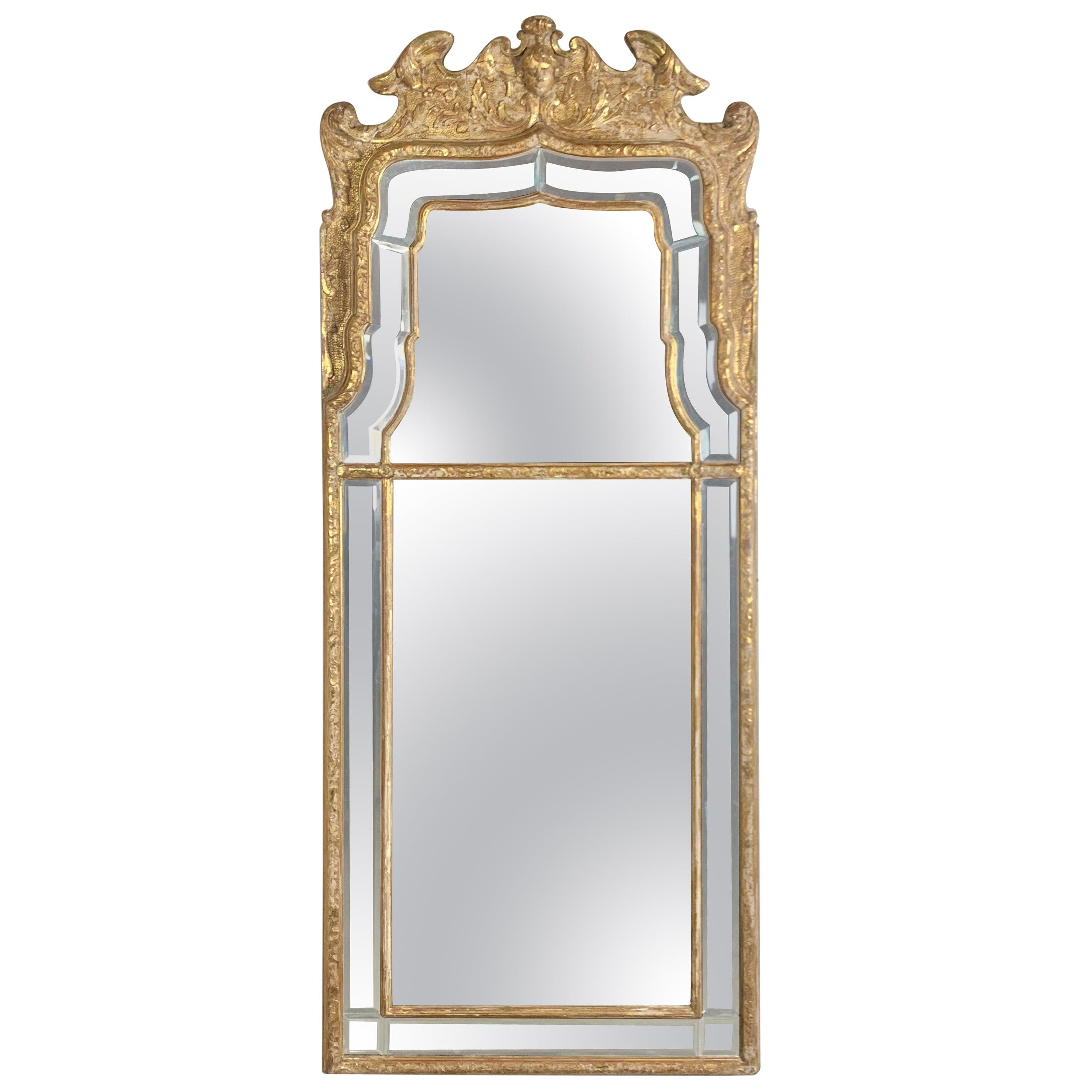 French Louis XVI Style Giltwood Mirror, circa 1930s