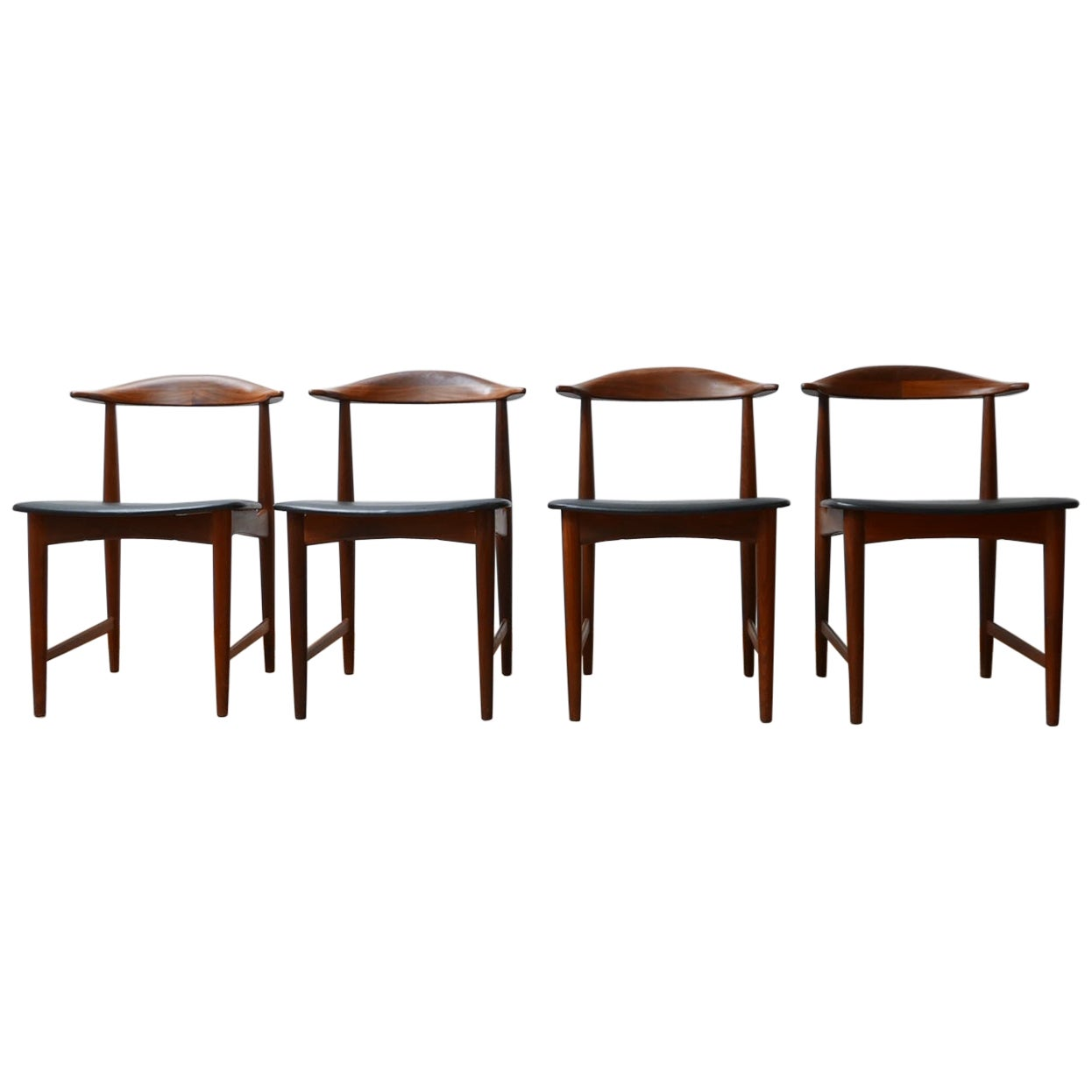 Danish 'Cow Horn' Midcentury Teak Dining Chairs '4'