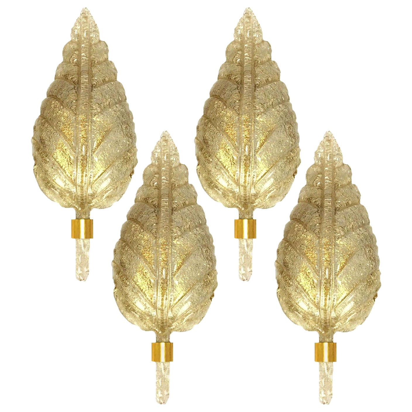 One the Four Large Wall Sconces Barovier & Toso Gold Glass Murano, Italy, 1960