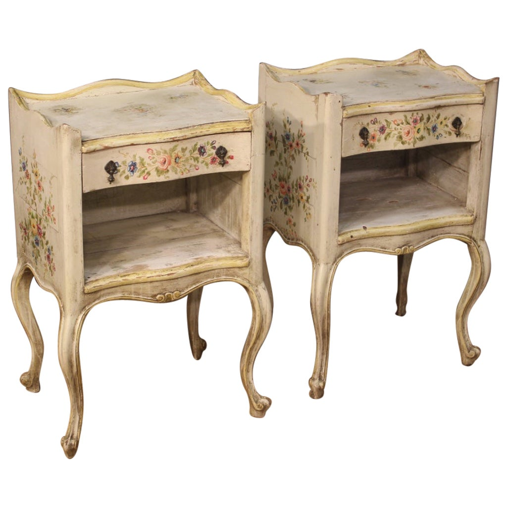 Pair of Lacquered and Painted Venetian Bedside Tables, 20th Century
