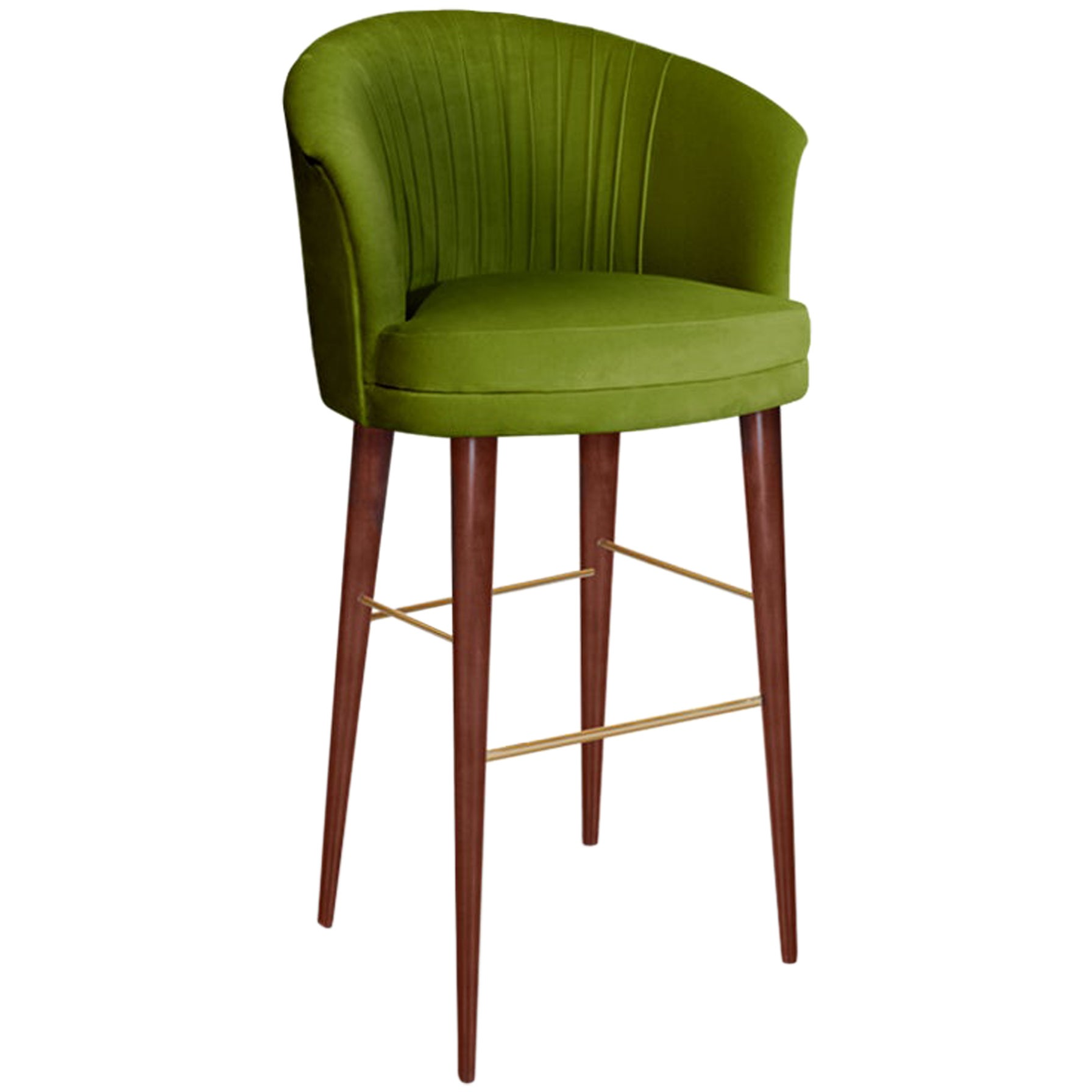 21st Century Lupino Bar Chair Cotton Velvet Walnut Wood Legs