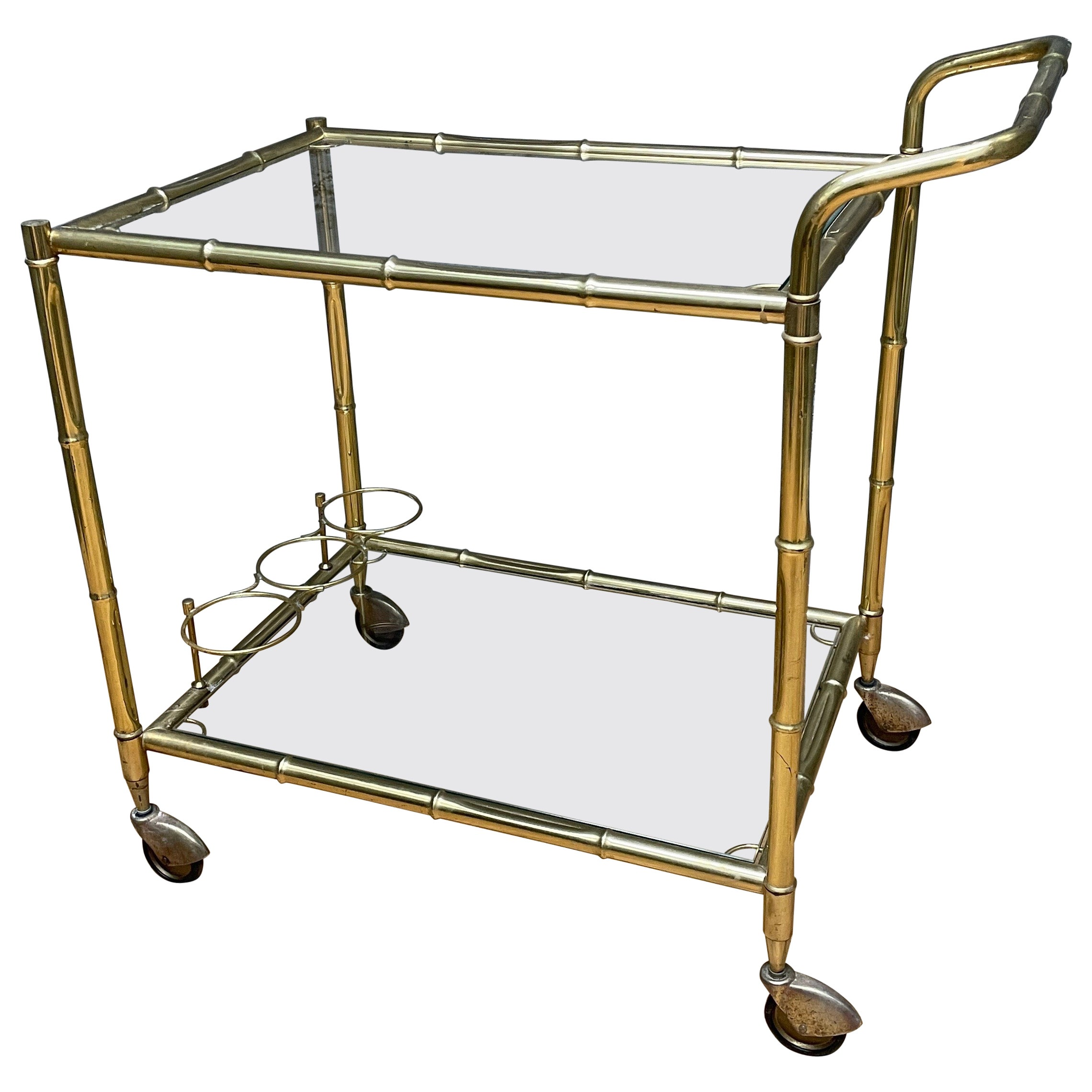 Brass Faux Bamboo Bar Cart