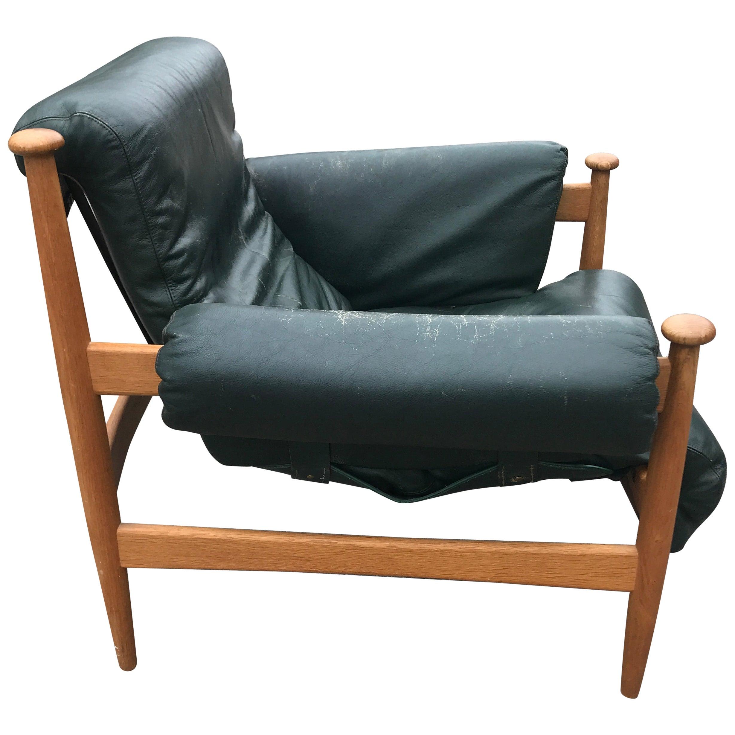 IRE Möbler Eric Merthen `Admiral` Midcentury Green Leather Lounge Chair, 1960s