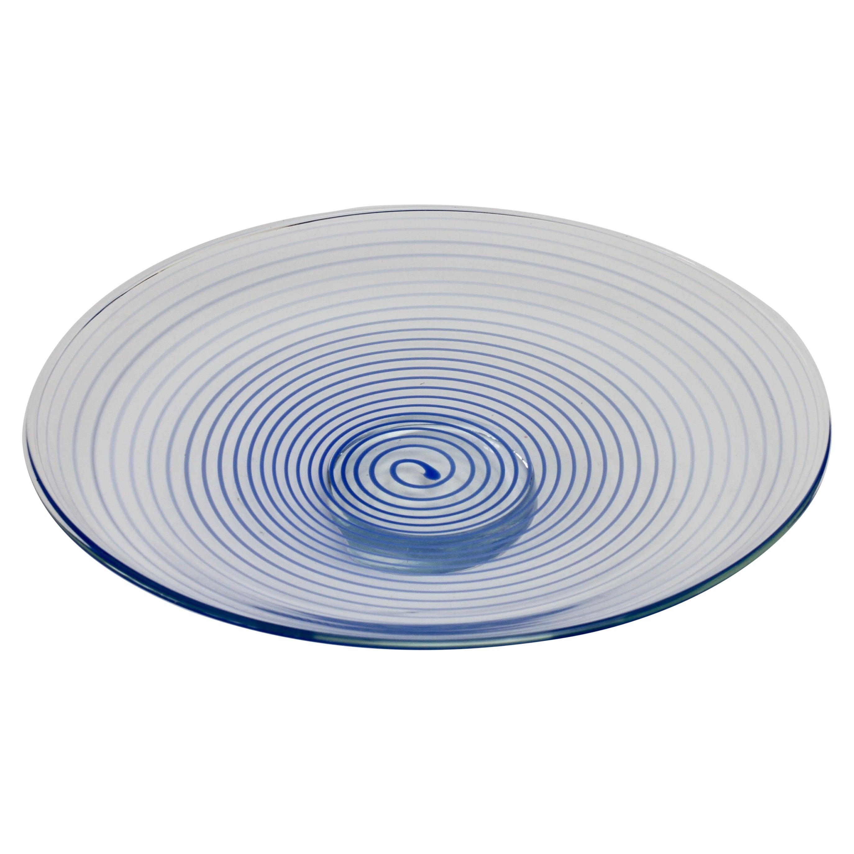 Large Cenedese Venetian Italian Murano Glass Blue Spirali Bowl or Serving Dish