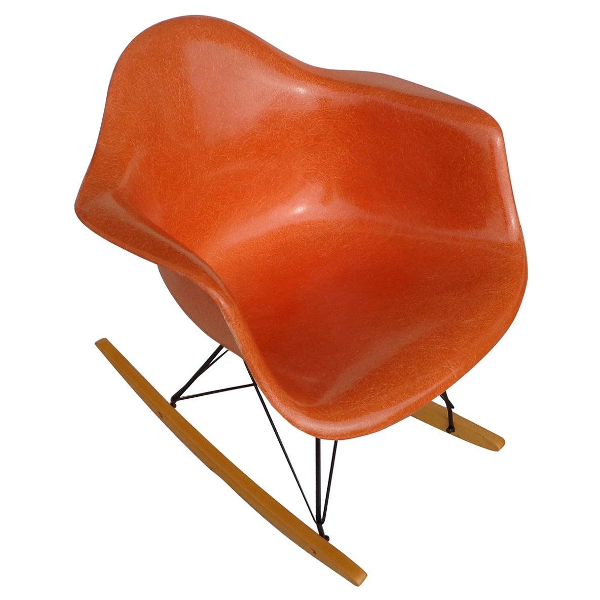 1 Herman Miller Orange Shell Fiberglass RAR Rocker by Eames