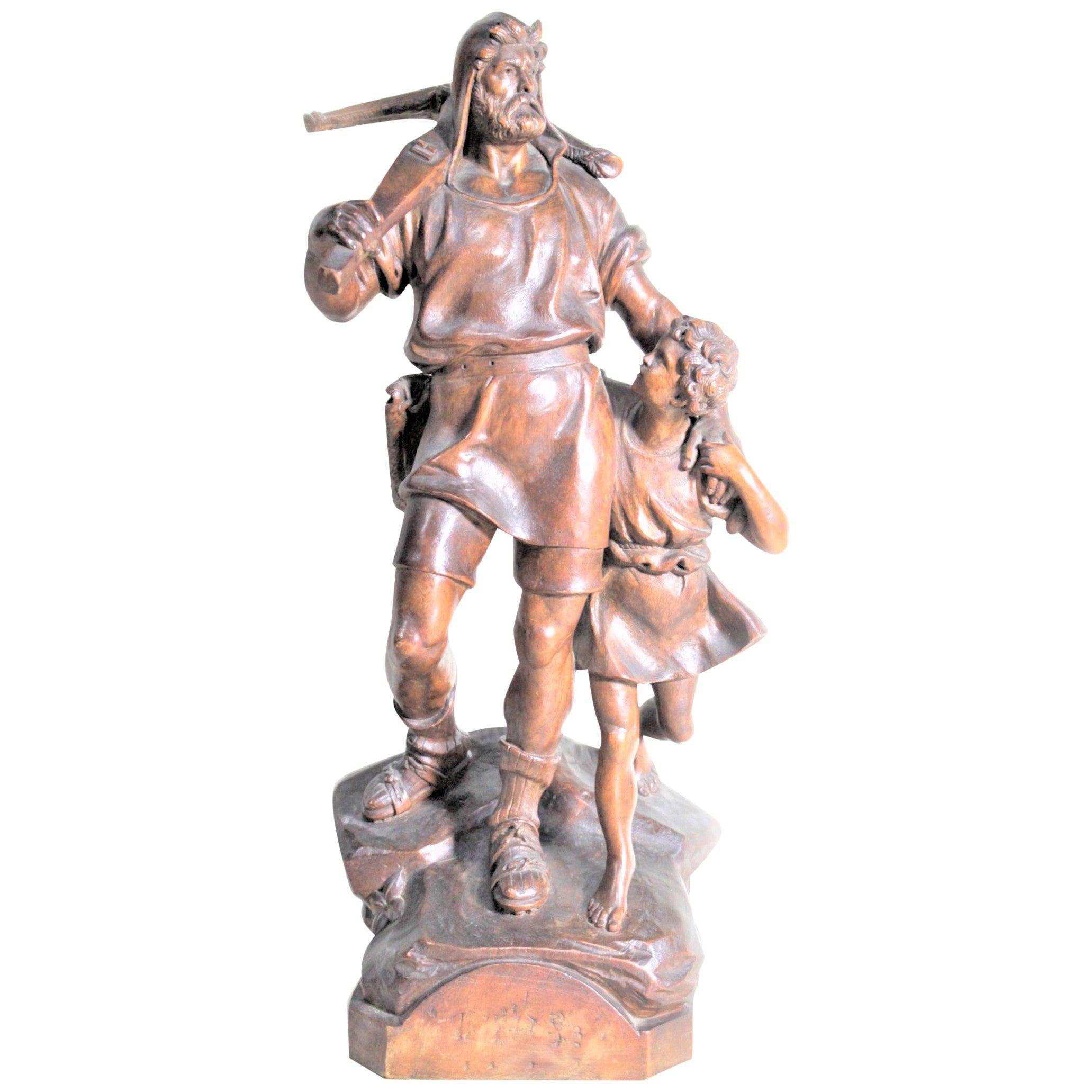 Antique Folk Art Hand Carved 'William Tell' & Boy Wooden Figurative Sculpture