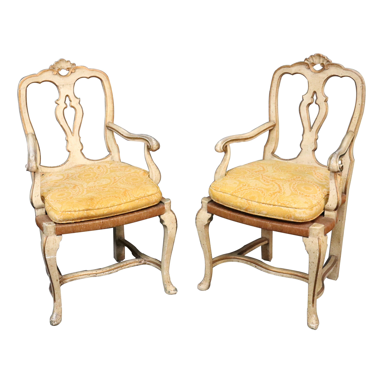 Pair of Italian Venetian Rush Seat Dining Armchairs, circa 1940s