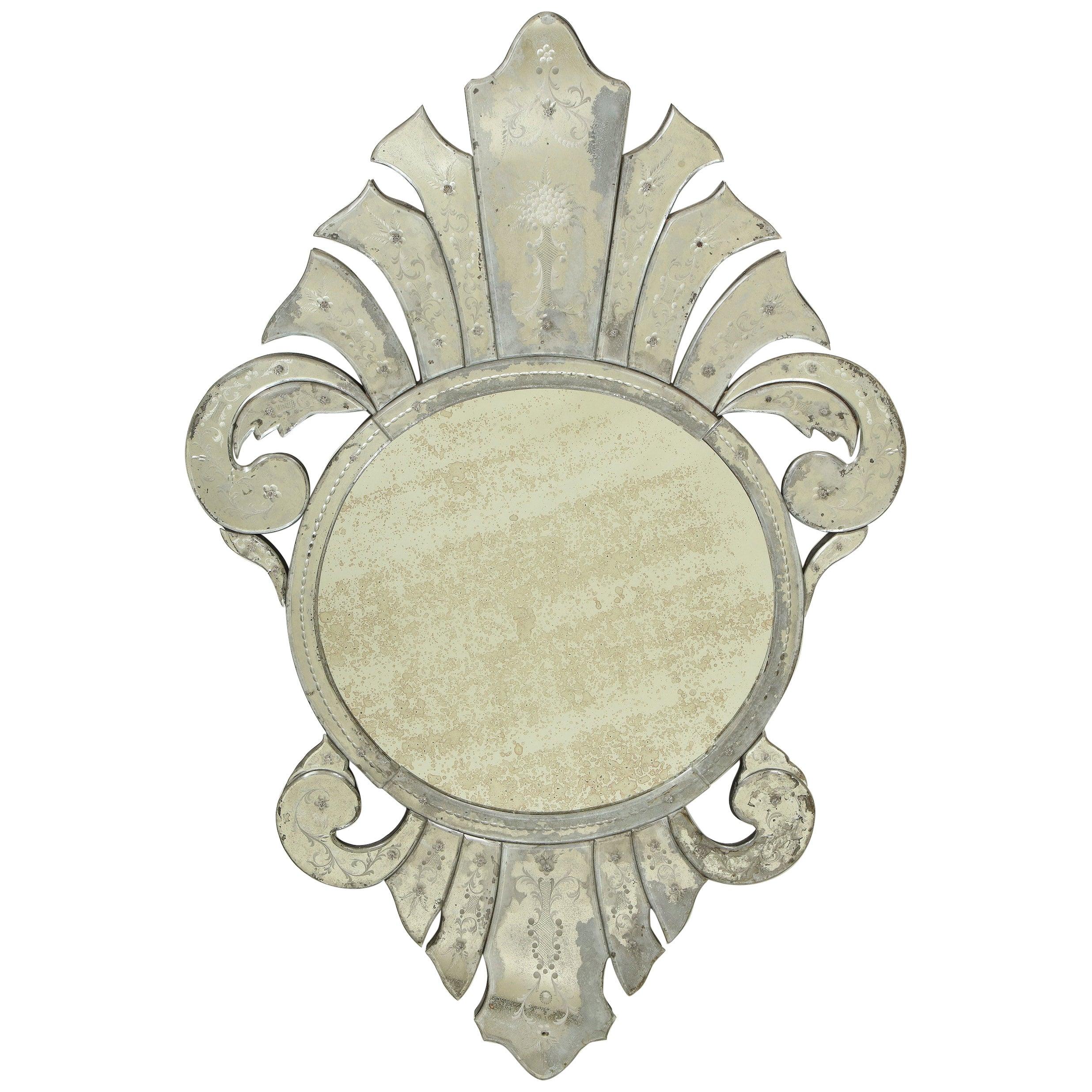 Venetian Glass Shield-Form Mirror
