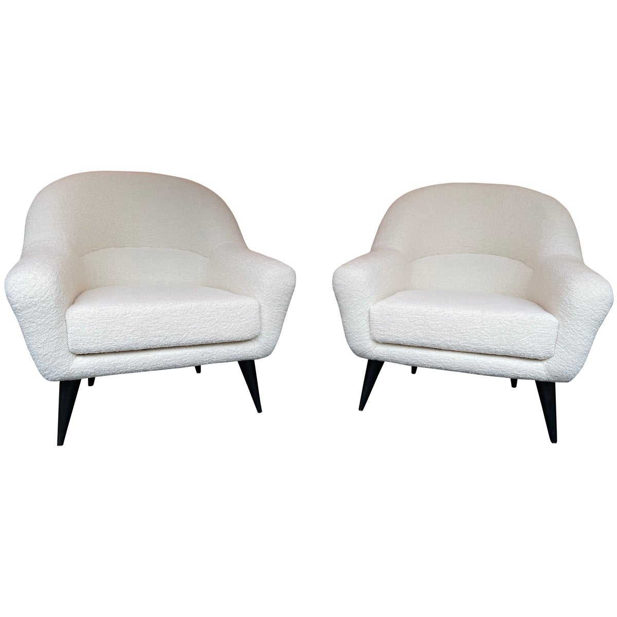 Pair of Armchairs Bouclé Fabric by Charles Ramos, France, 1950s