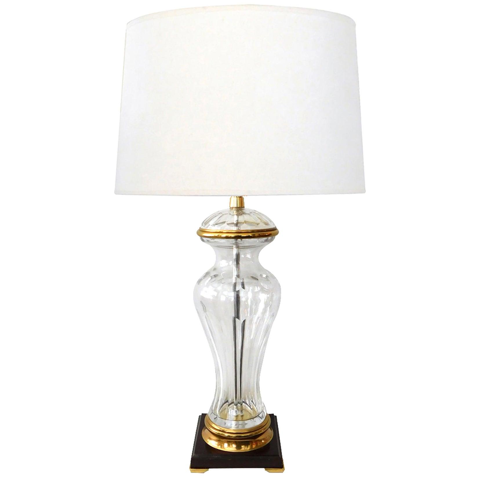Large Marbro Lamp Co. 1960s Cut Crystal Baluster-Form Lamp with Gilt-Metal Moun