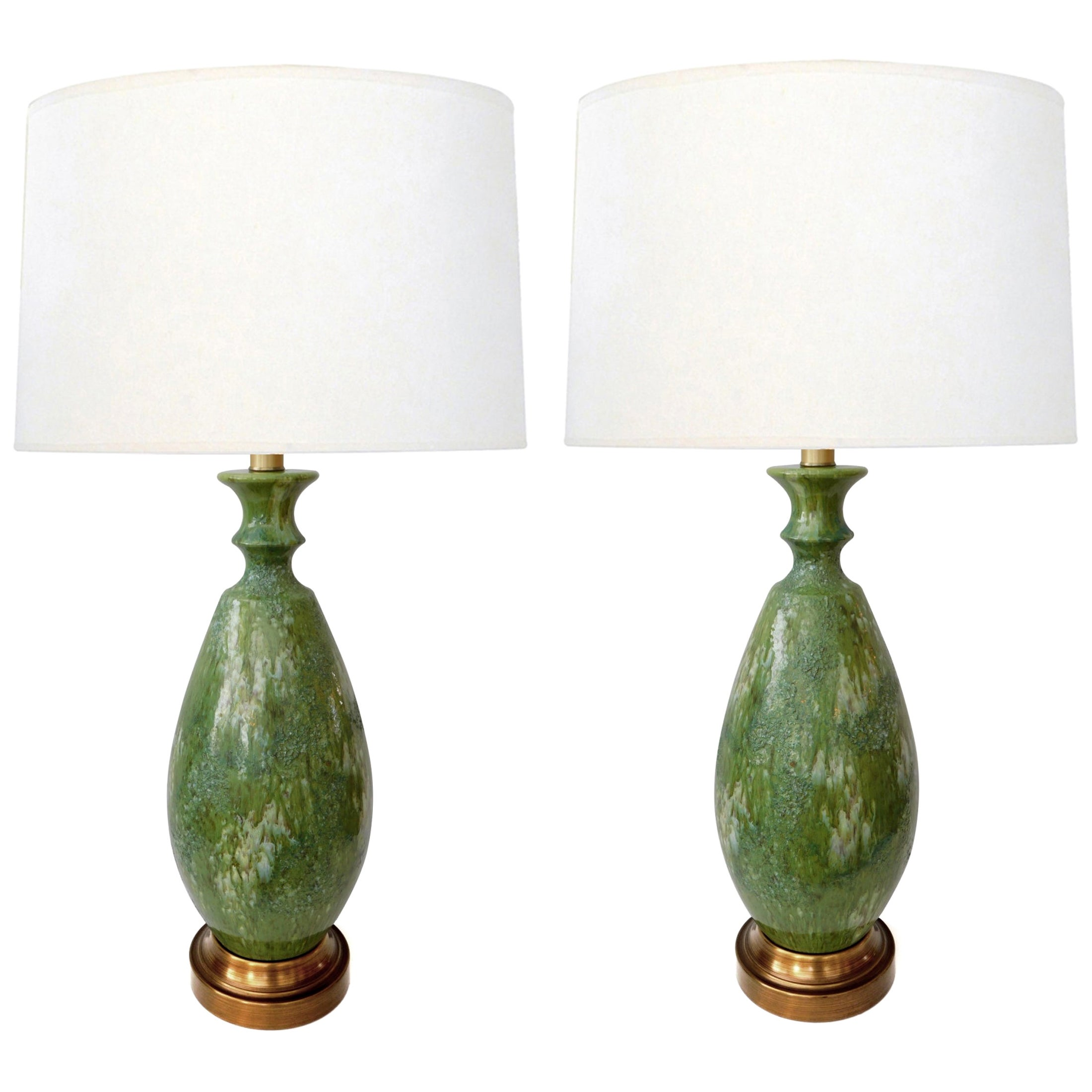 Large Pair of 1960s Celadon Drip Glaze Ovoid-Form Lamps
