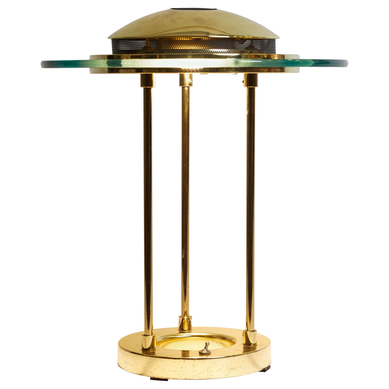 1970s Italian Brass and Glass Circular Table Lamp