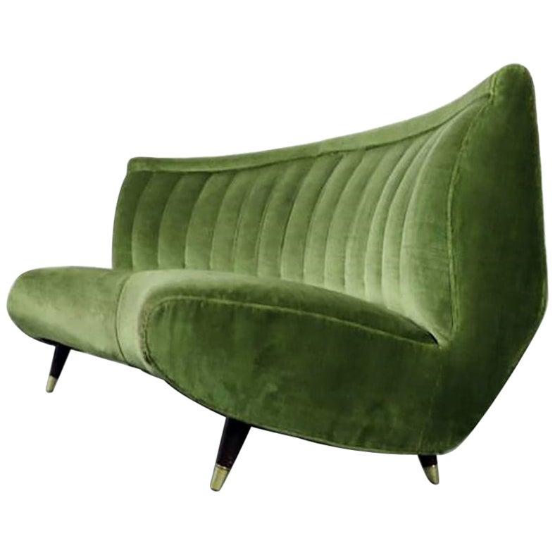 Giulia Veronesi for ISA Rare Green Curved Channel Back Velvet Sofa, Italy, 1950s