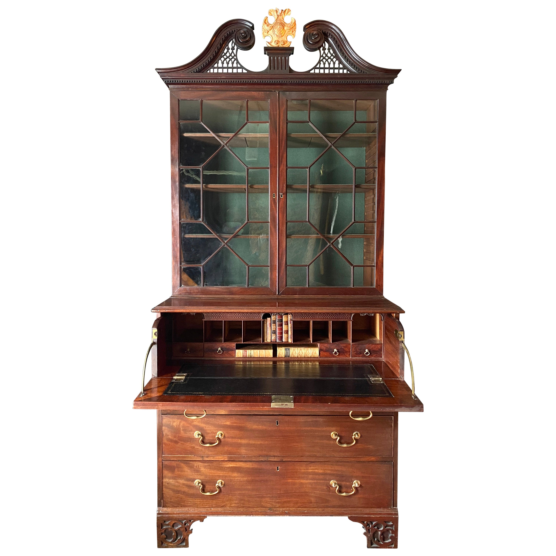 English 18th Century Mahogany Secretaire Cabinet