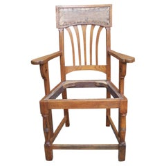 English Arts & Crafts Oak Dining Chair with Stylised Floral Cut-Outs to the Arms