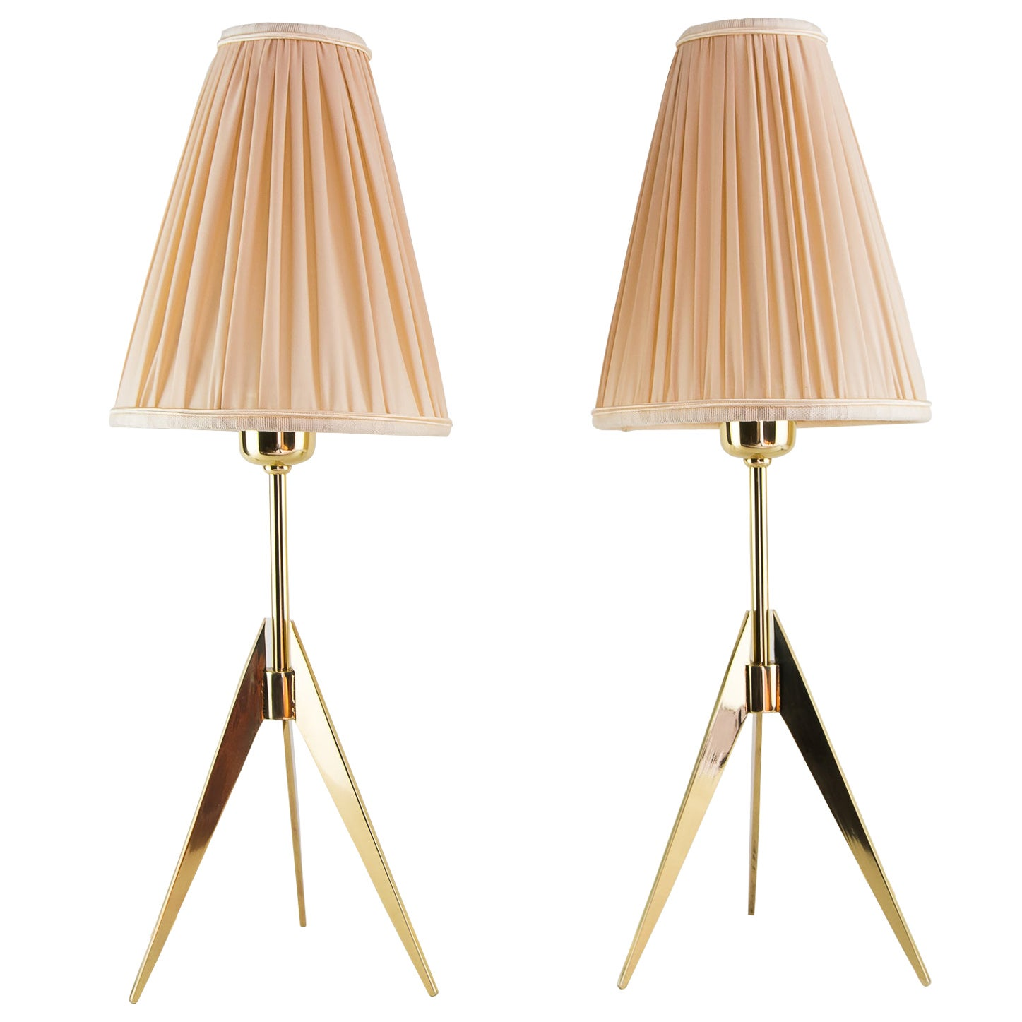 Two Kalmar Table Lamps, with Fabric Shades, circa 1950s