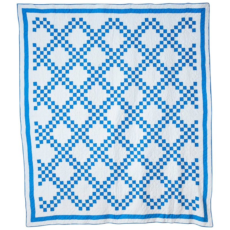"Vintage Patchwork ""Double Irish Chain"" Quilt in Blue and White, USA, 1920s"