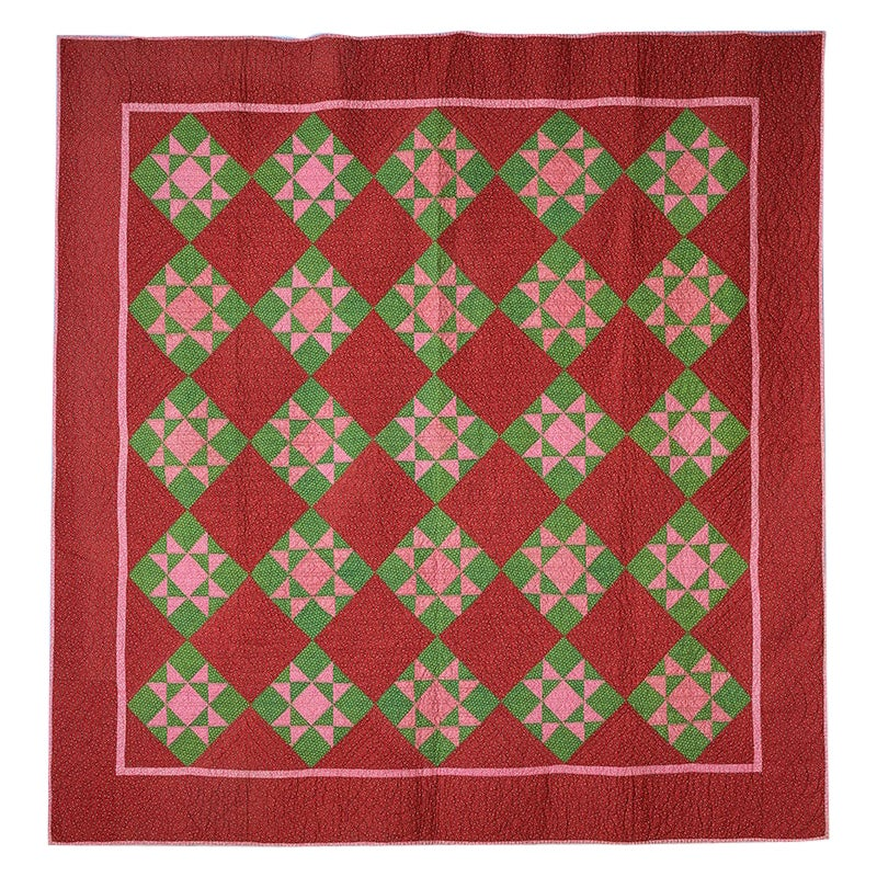 "Antique Patchwork ""Ohio Star"" Quilt in Red Colors, USA, 1880s"