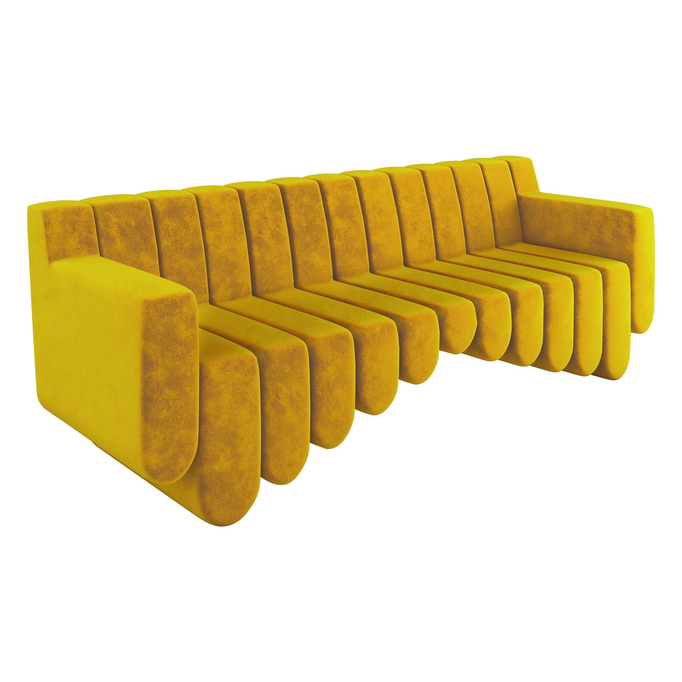 Yellow Velvet Contemporary Sofa, Three Seater
