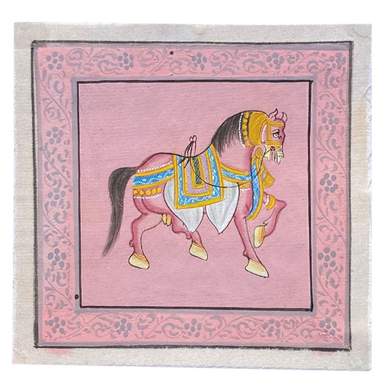 Pink Indian Folk Horse Painting Hand Painted on Silk