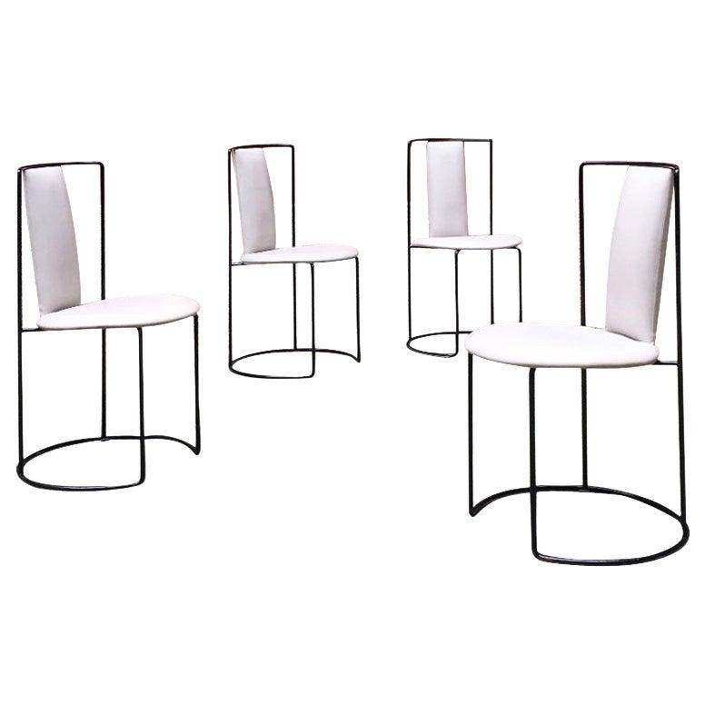 Italian Mid-Century Modern Black Metal and White Fabric Chairs, 1980s