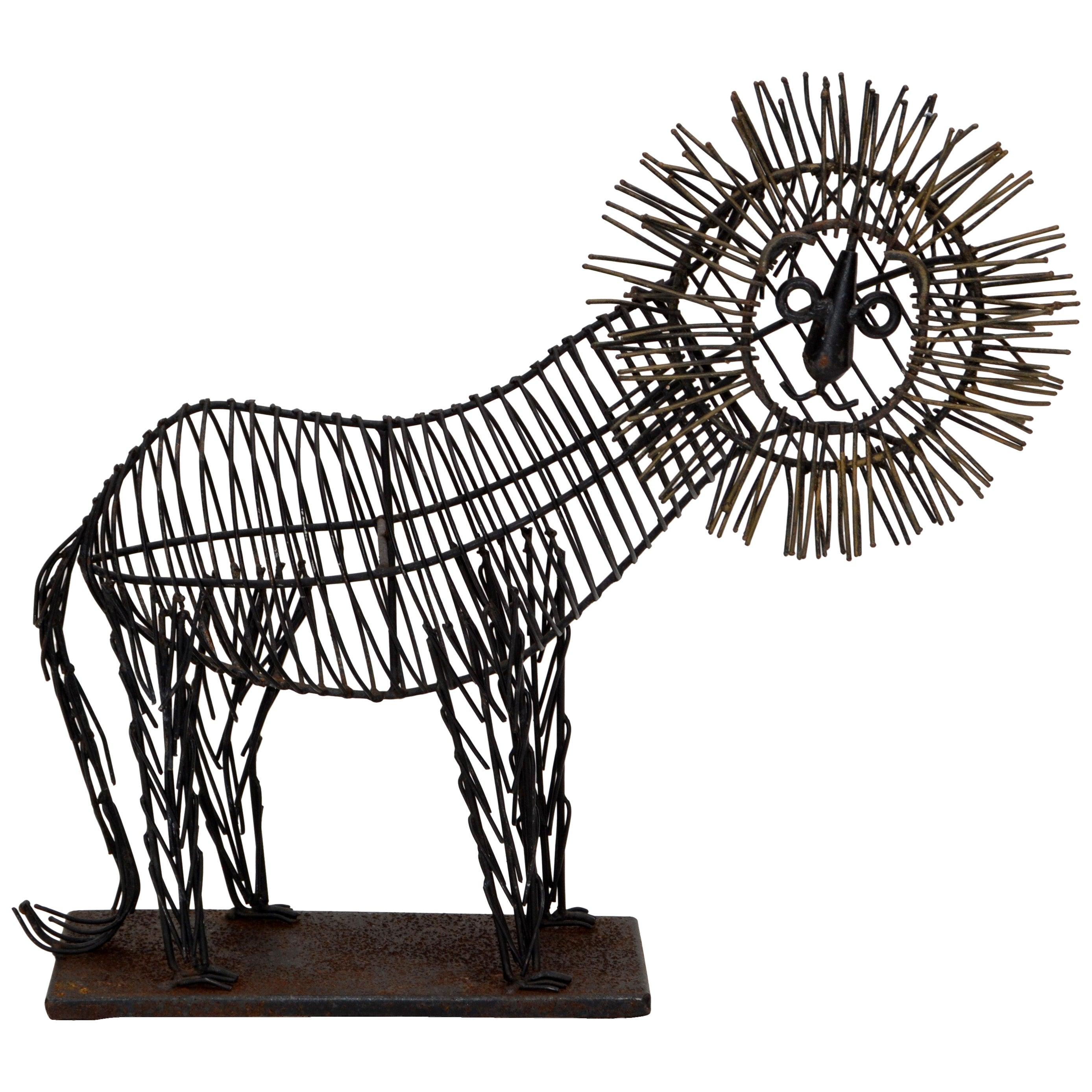 Fine Art Mid-Century Modern Black Wire Lion Table Sculpture, Animal Sculpture