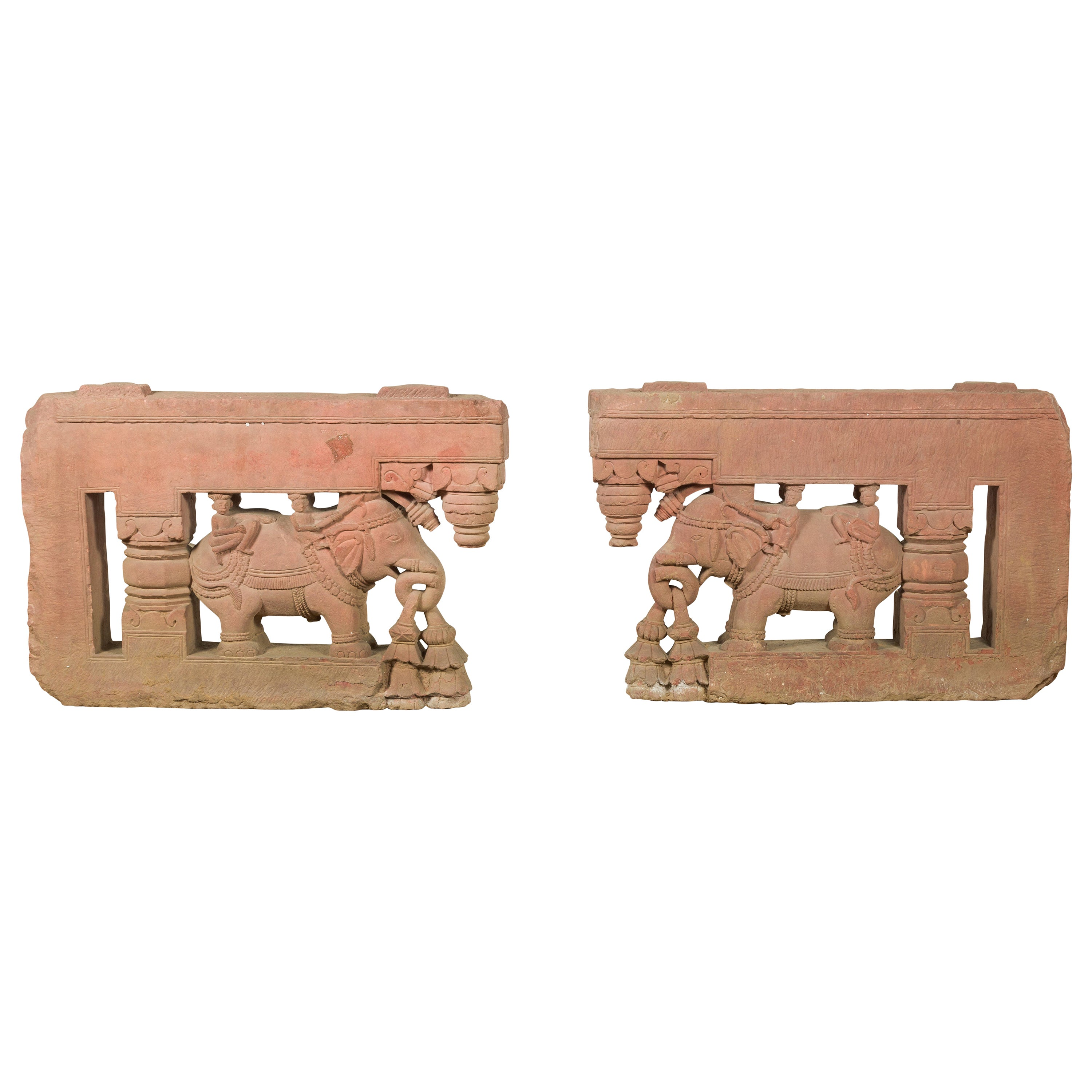 Pair of Antique Indian Carved Stone Bas-Reliefs Depicting Men Riding Elephants