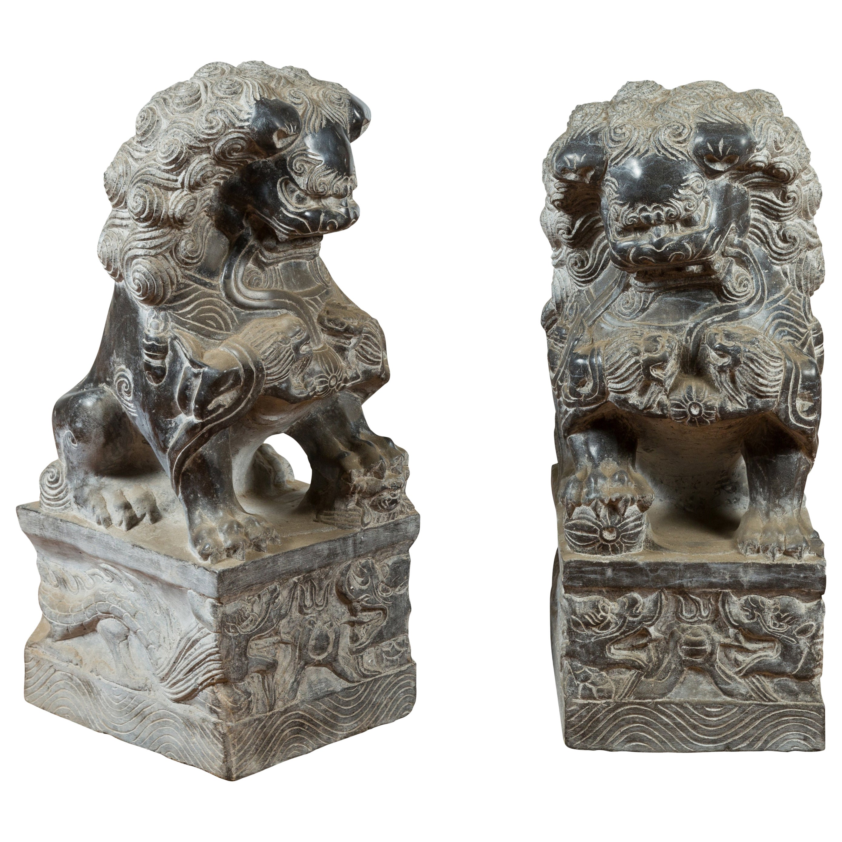 Pair of Chinese Black Marble Contemporary Facing Foo Dogs Guardian Lions