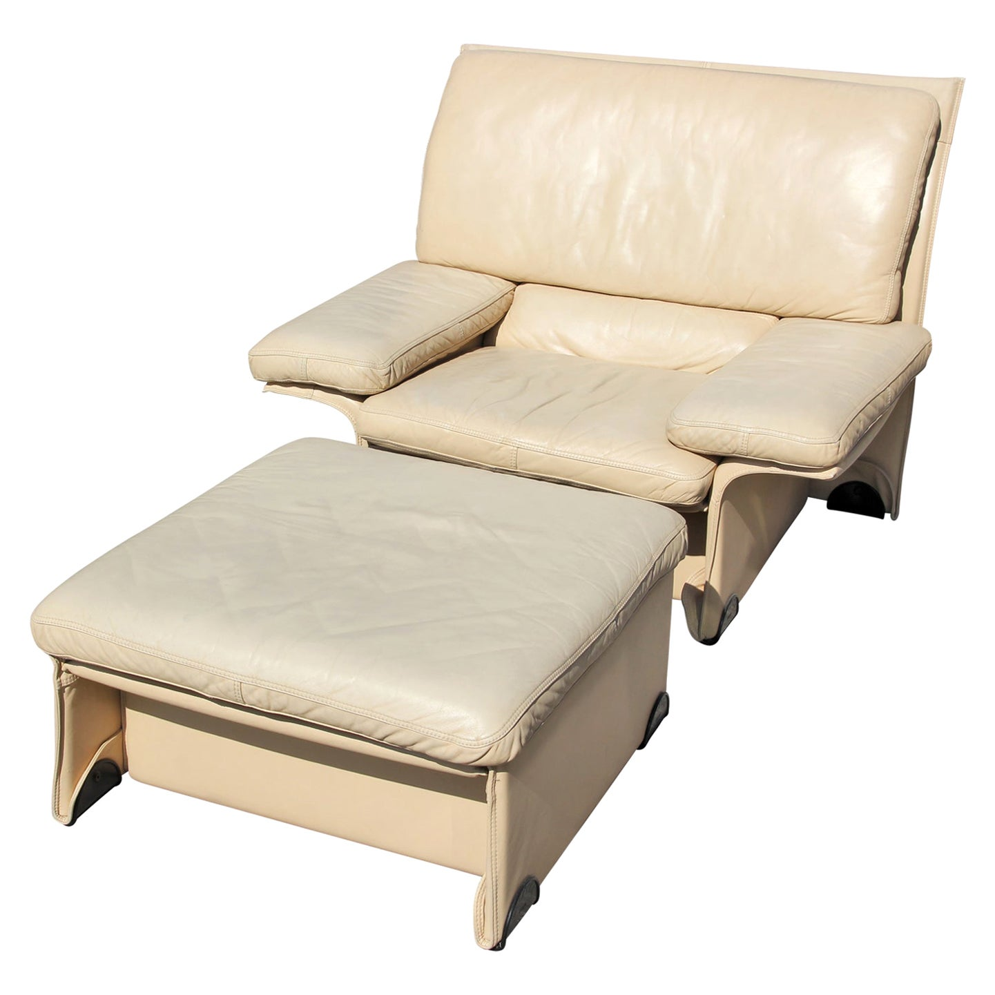 Brunati Postmodern Italian Cream Leather Lounge Chair and Ottoman