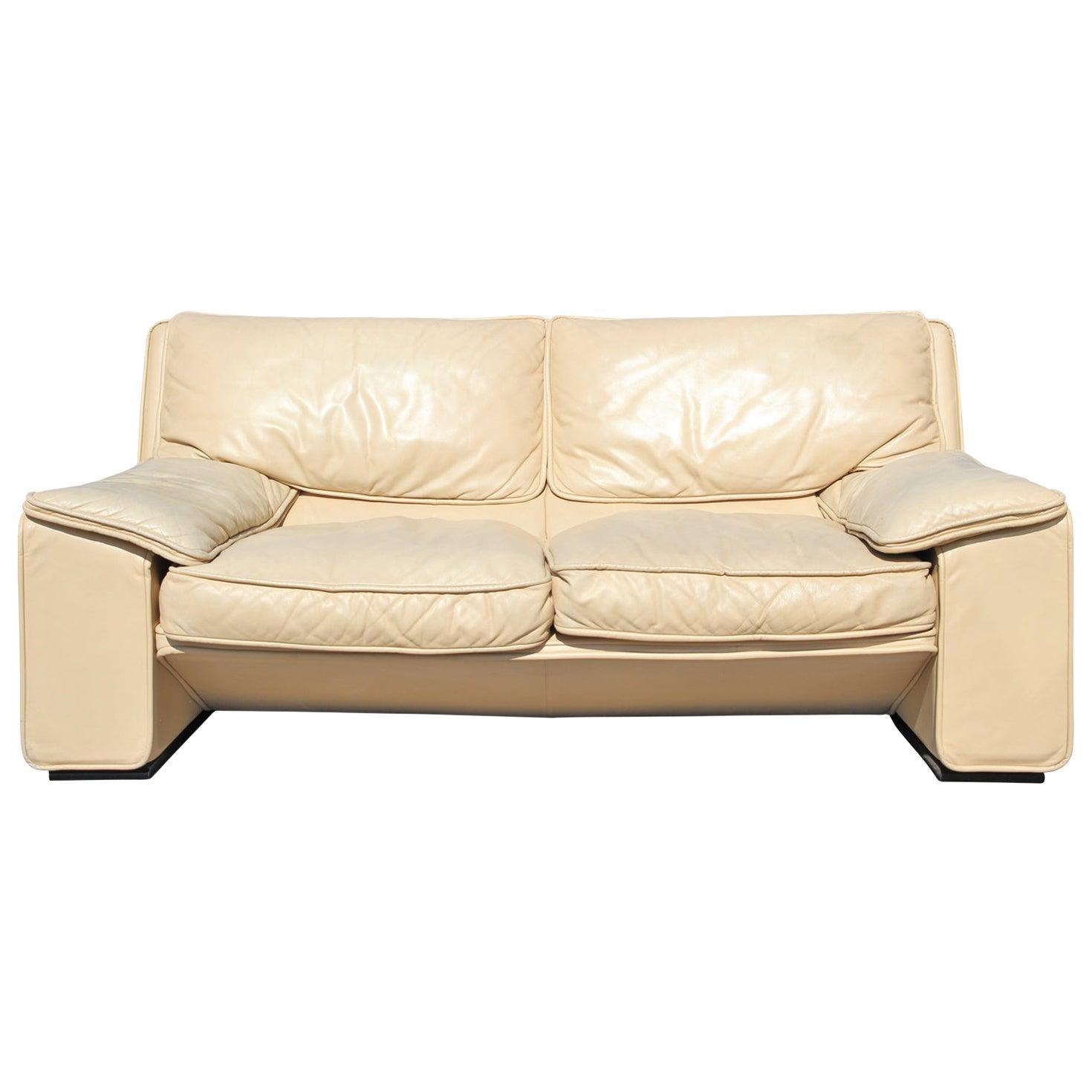Roche Bobois Style Brunati Postmodern Italian Leather Two-Seat Sofa / Settee