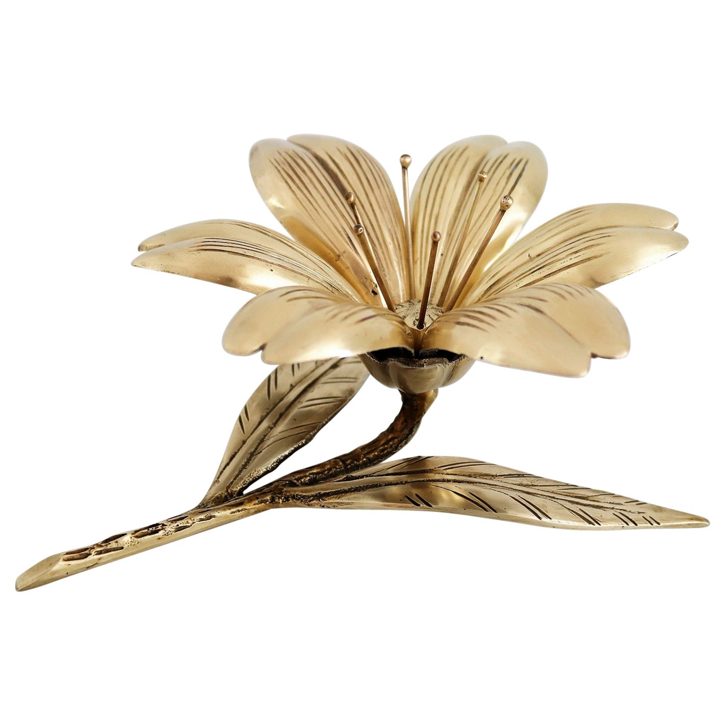 Italian Midcentury Flower in Brass with Petal Ashtrays for Cigarettes, 1950s