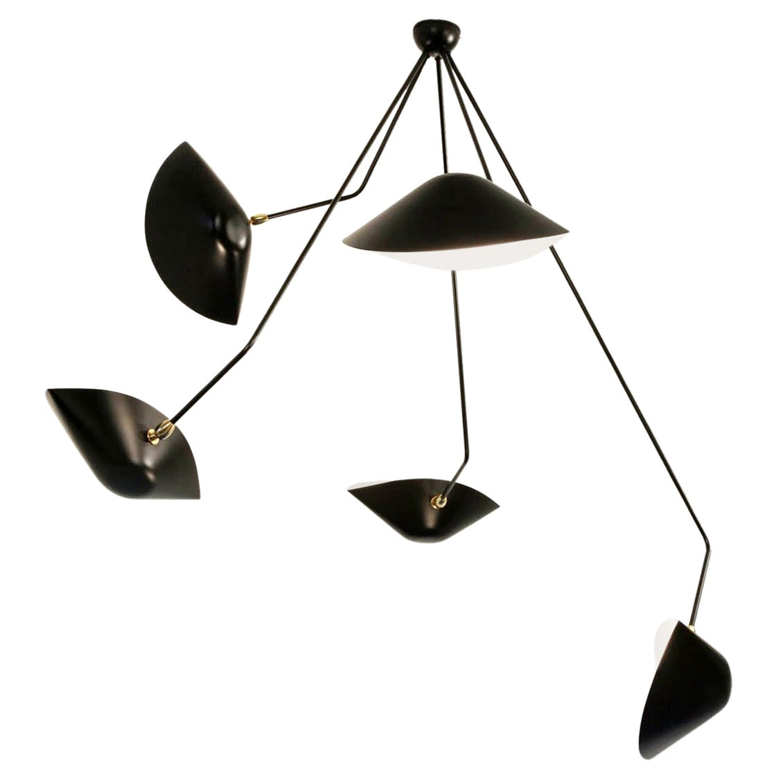 Serge Mouille Spider Five Broken Arms Ceiling Lamp