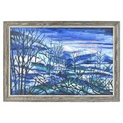 "John Crockett, Modernist ""Snowy Evening"" Oil on Masonite Landscape, 1959"