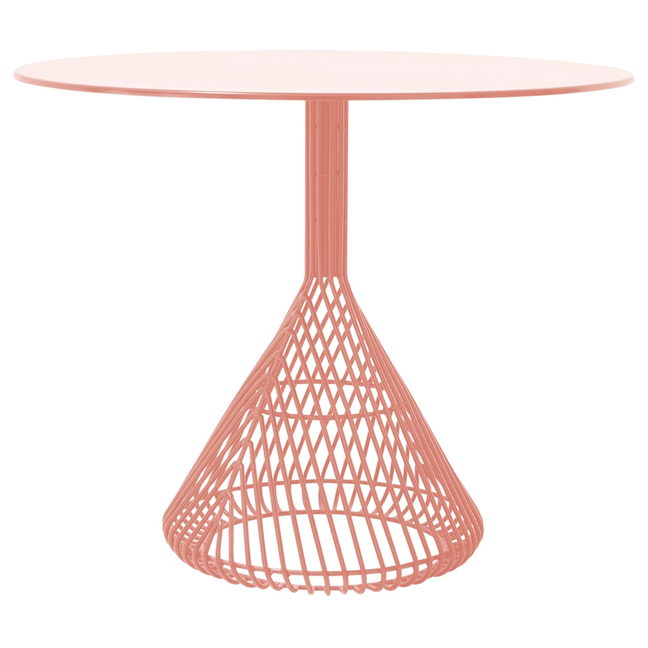 Modern Bistro Table, Wire Dining Table in Peachy Pink with Metal Top