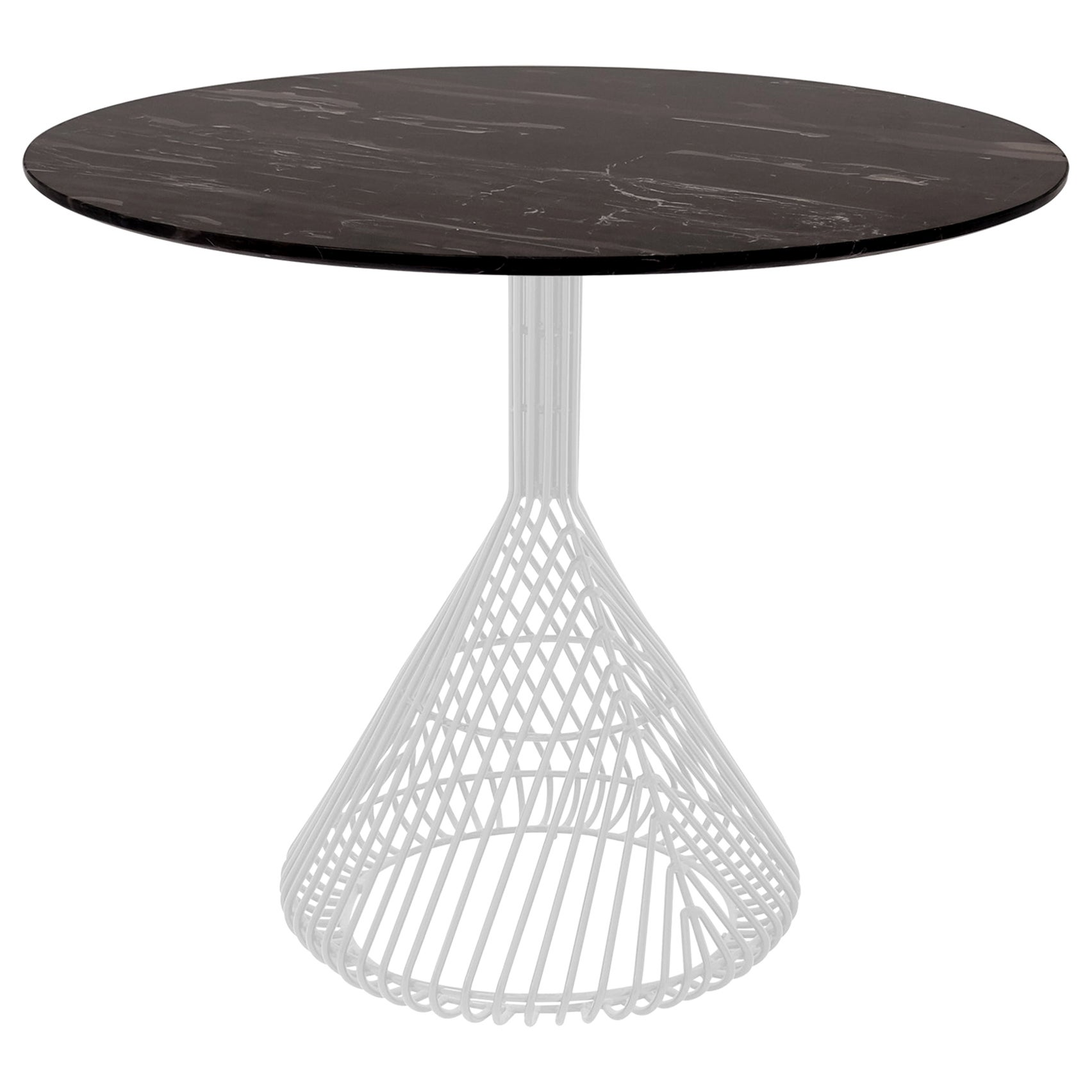 Modern Bistro Table, Wire Dining Table in White with Black Marble Top