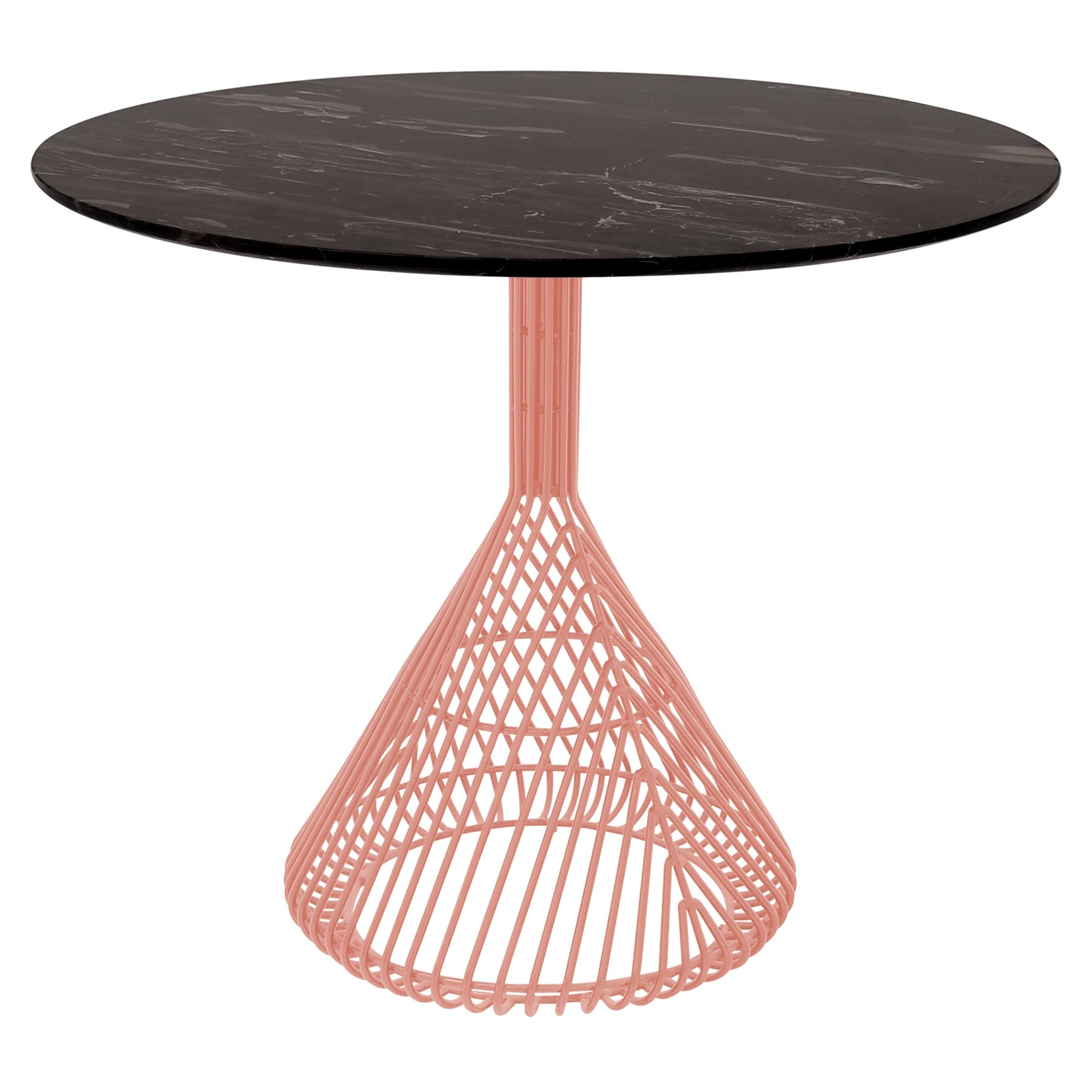 Modern Bistro Table, Wire Dining Table in Peachy Pink with Black Marble Top