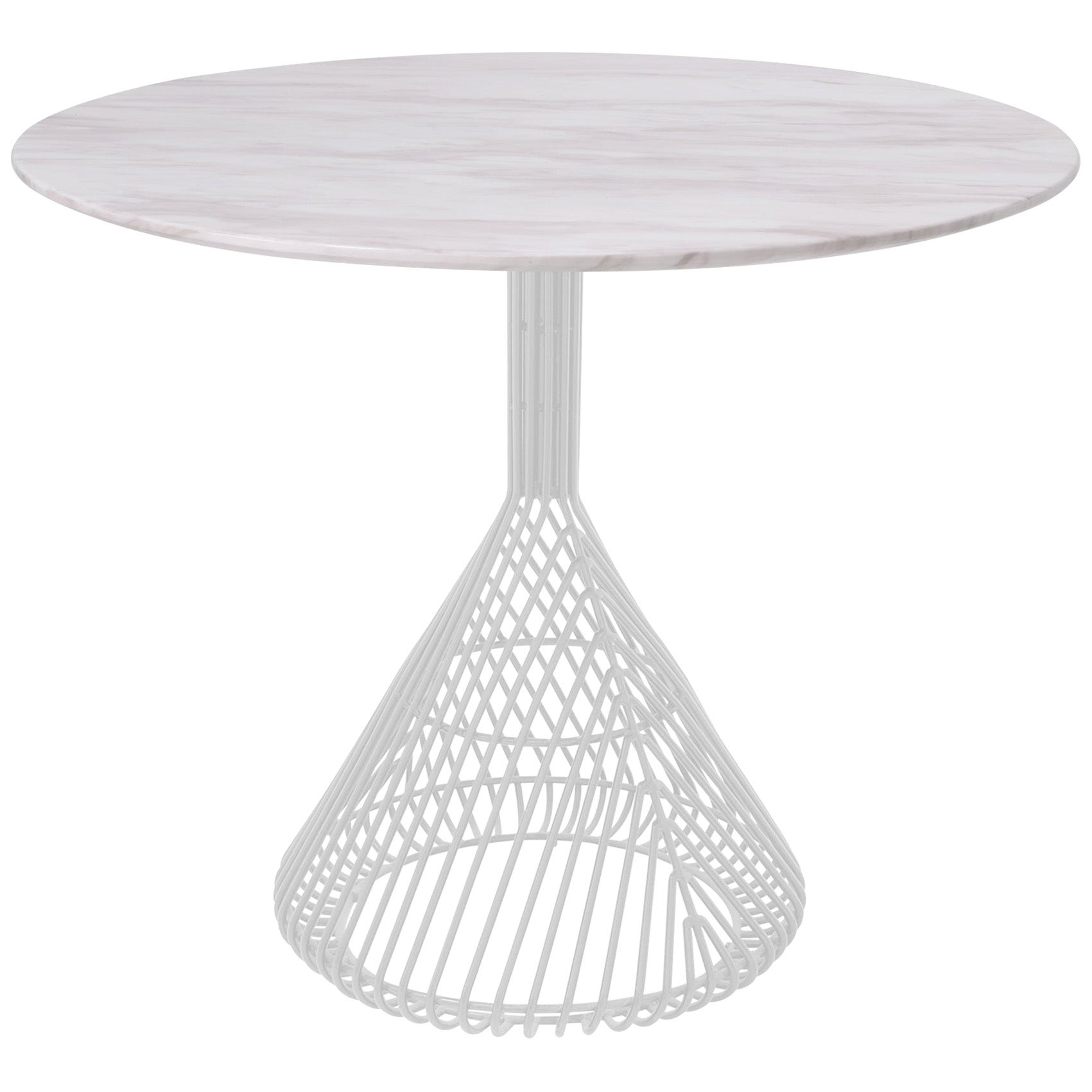 Modern Bistro Table, Wire Dining Table in White with White Marble Top