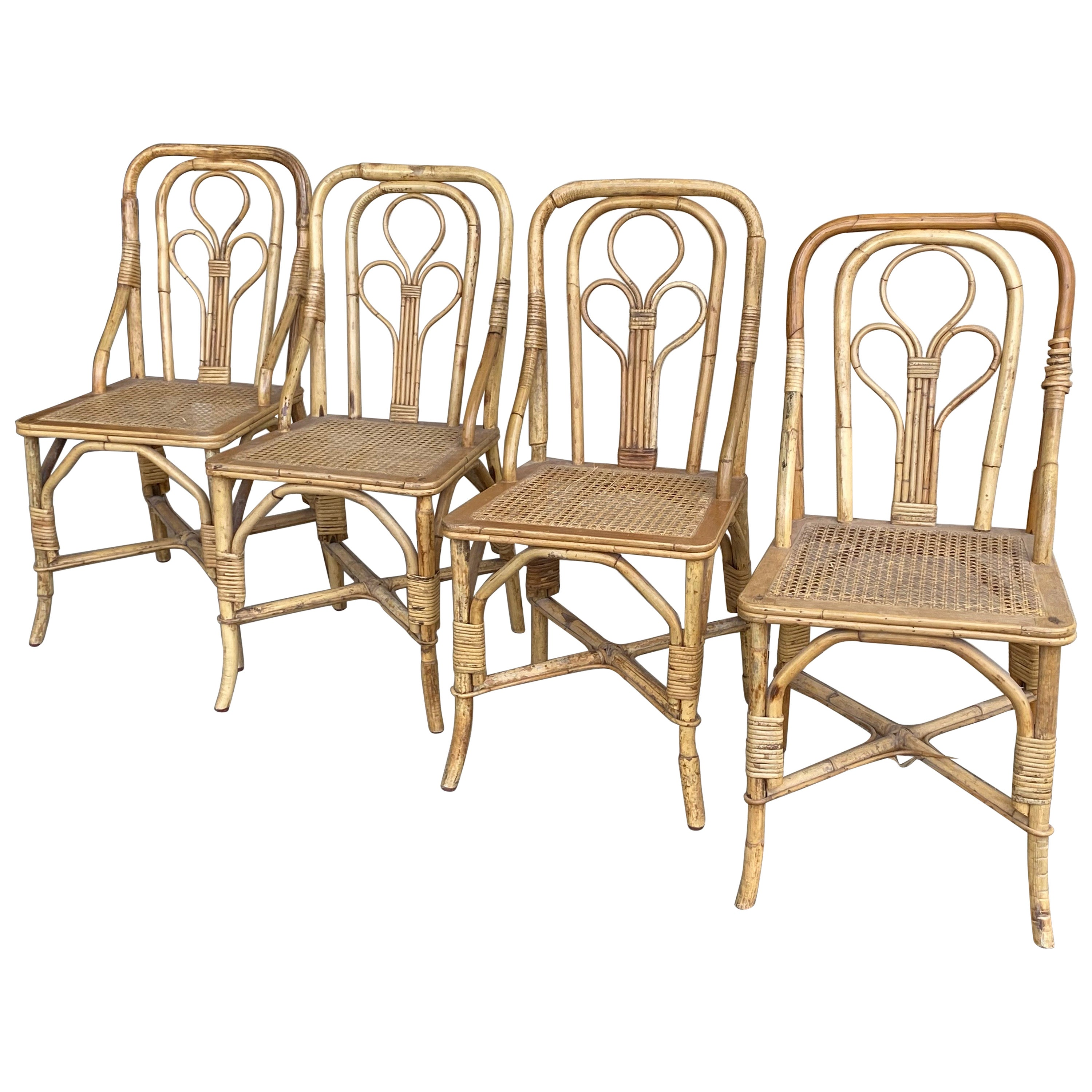 Set of Four Rattan and Cane Side Chairs