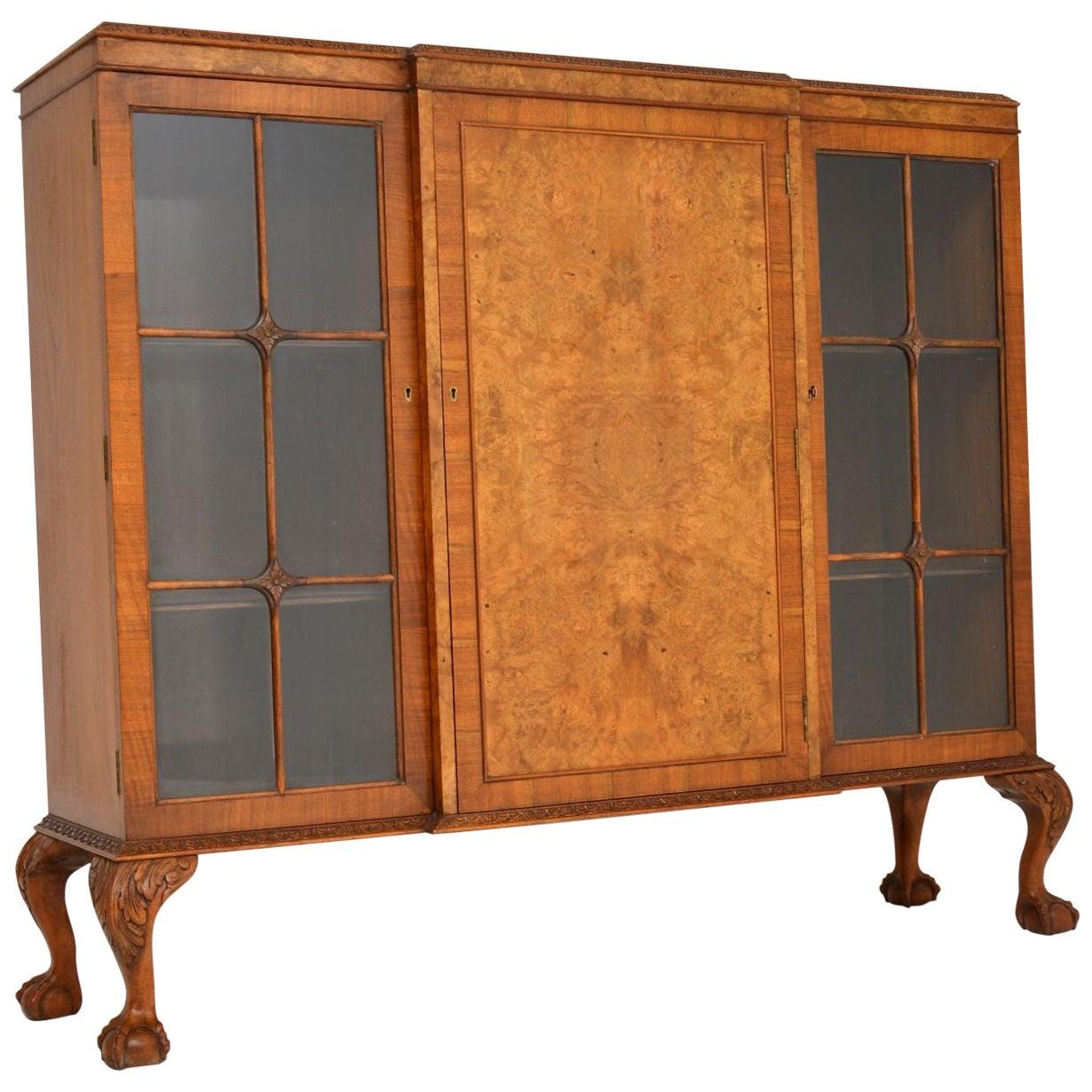 Antique Queen Anne Style Burr Walnut Bookcase