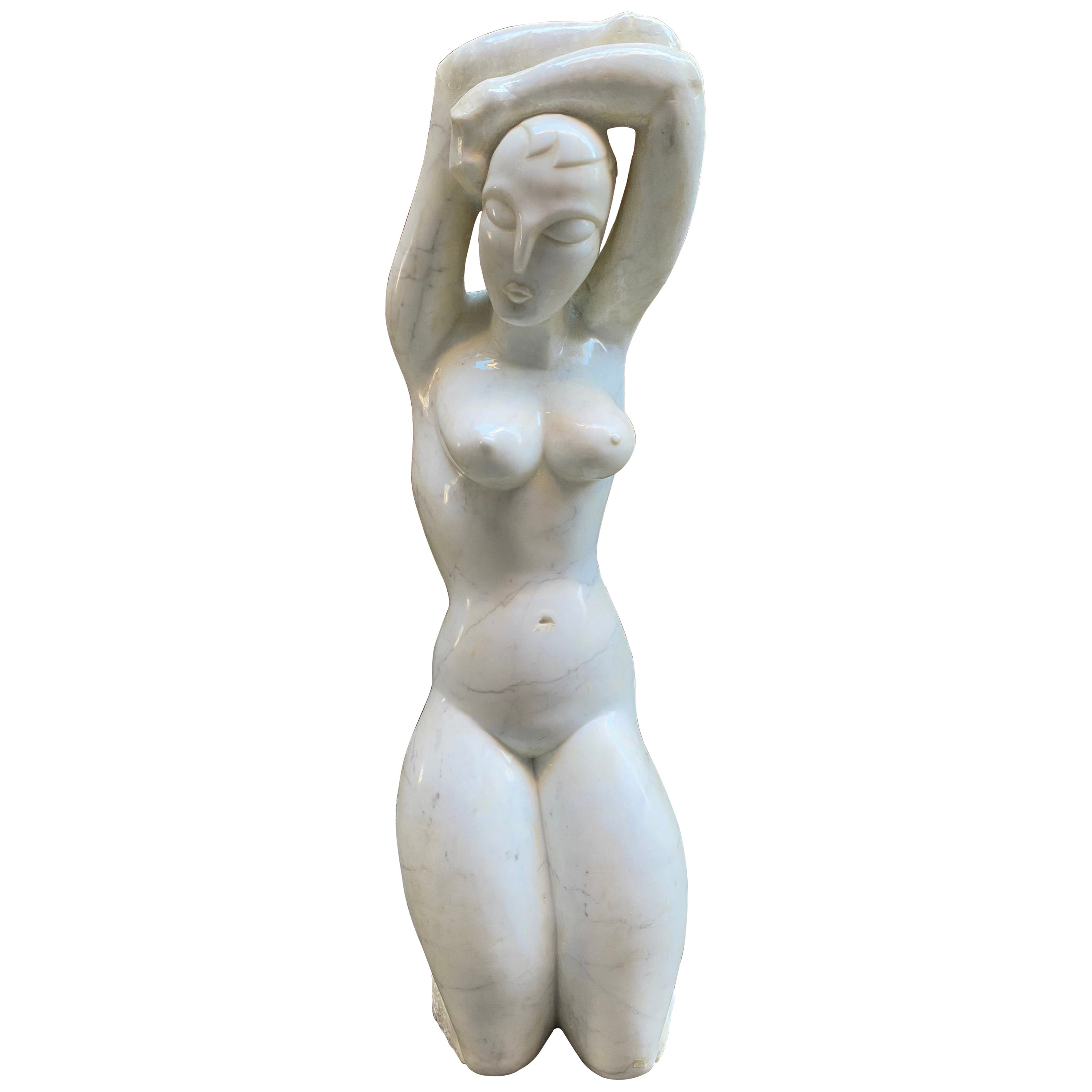 Modiglianiesque Contrapposto Standing Nude Marble Sculpture
