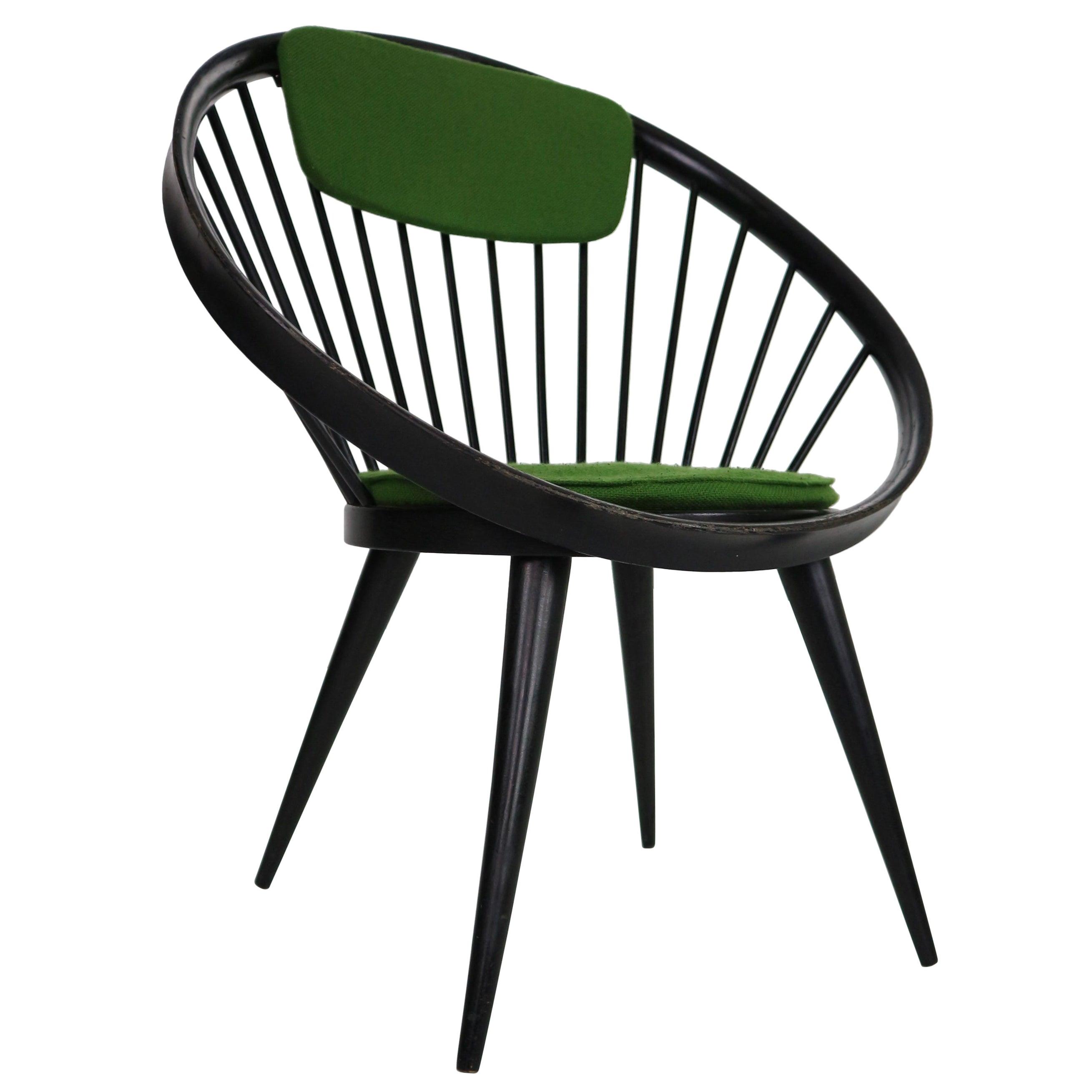 "Yngve Ekström Black Original ""Circle"" Chair for Swedese, 1960s, Sweden"