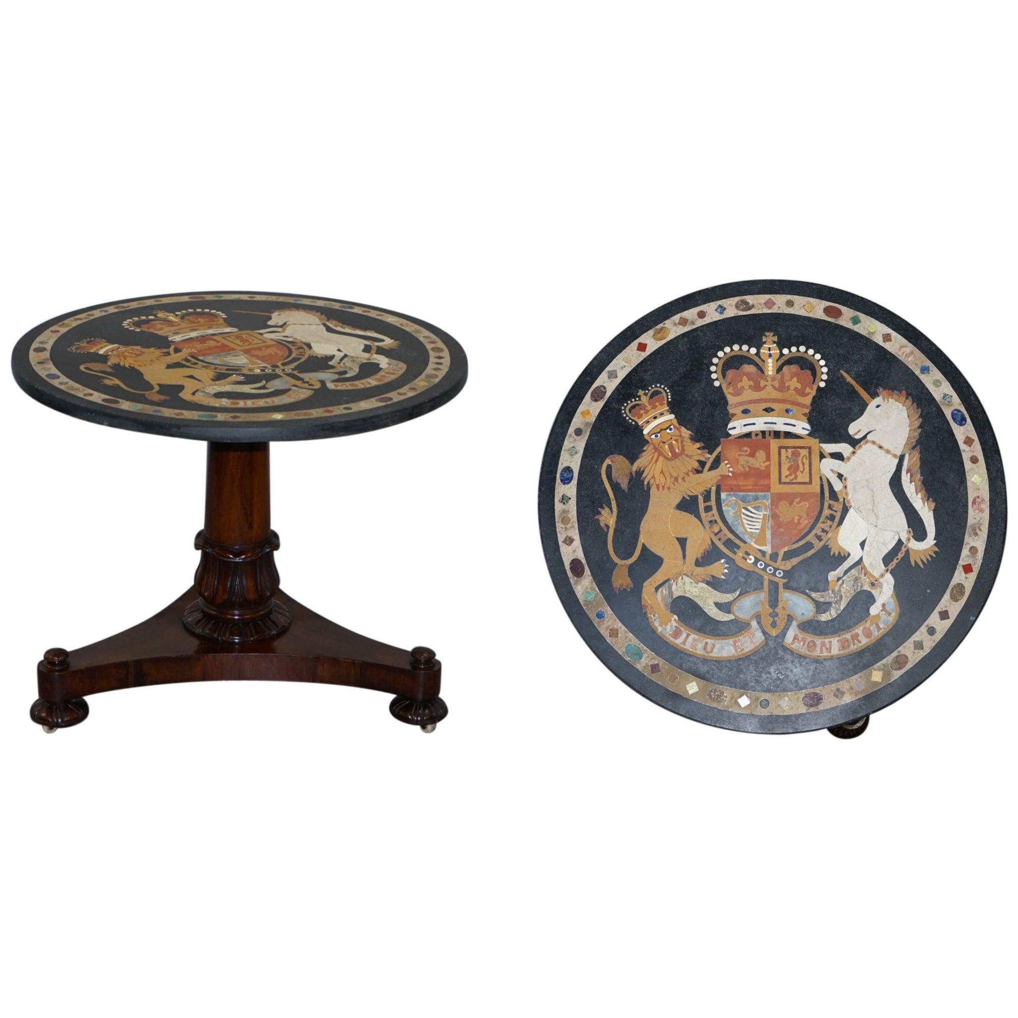 Pietra Dura Specimen Marble Centre Table Coat of Arms William iv Hardwood Base